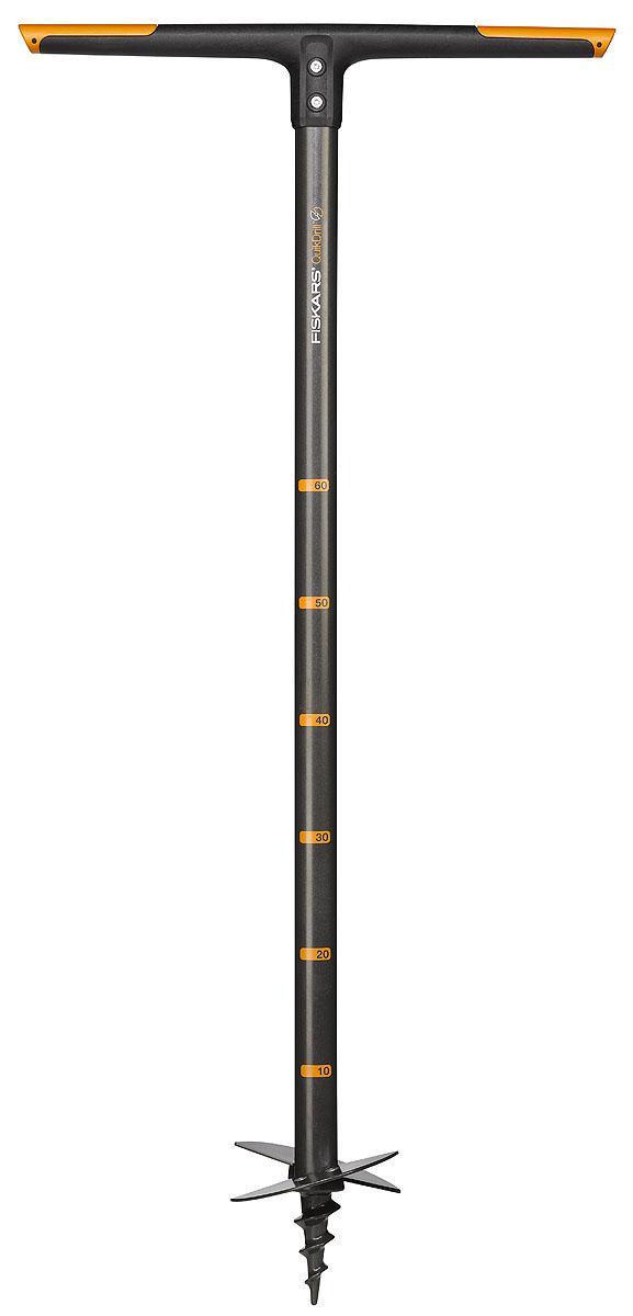 Бур садовый Fiskars, диаметр 10 см, длина 110 см531-402Садовый бур Fiskars оснащен усовершенствованным сошником. Лезвия заменяемы. Упрощает работу мерная шкала с интервалом 10 см, нанесенная на рукоятке QuikDrill. Подходит для посадки многолетних растений, рыхления и перемешивания компоста и установки столбцов среднего размера. Проделывает лунку с аккуратными краями, легко преодолевая камни и кореньяРукоятка изготовлена из прочного материала FiberComp, а черенок из стальной трубыДвойное режущее действие обеспечивается двумя лезвиями с оптимальной заточкой. Длина бура: 110 см. Диаметр: 10 см.