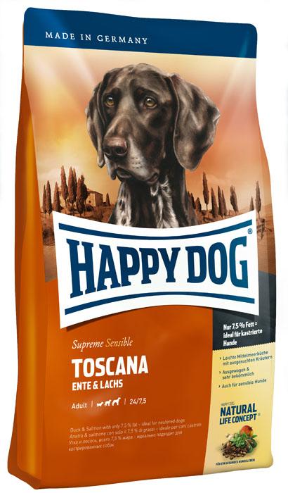 Корм_сухой_для_собак_Happy_Dog_~Toscana~_-_необыкновенно_вкусный_полнорационный_корм_Премиум_класса_в_форме_аппетитных_крокетов._Предназначен_для_собак_с_низкими_потребностями_в_энергии._Вследствие_сниженного_содержания_жира_до_7,5%25_при_24%25_белка_этот_рацион_превосходно_подходит_собакам_с_низкими_потребностями_в_энергии_при_нормальных_потребностях_в_протеине_(в_том_числе_кастрированным_животным).Столетиями_продукты_классической_средиземноморской_кухни_славятся_своими_целебными_свойствами,_защищающими_от_болезней_современной_цивилизации_и_болезней_сердца_и_кровообращения._Особенно_ценные_качества_имеют_отборные_средиземноморские_травы,_натуральное_оливковое_масло,_лосось_и_полифенолы_красного_винограда._Только_в_корме_Toscana_соединяется_все_это_разнообразие_полезных_ингредиентов._Happy_Dog_~Toscana~_-_идеальный_вариант_для_кормления_собак_с_учетом_их_особых_потребностей:_содержит_только_тщательно_отобранные_компоненты,_отличается_особо_бережной_технологией_приготовления_и_оптимизированным_уровнем_белков_и_энергии._Эксклюзивная_рецептура_дополнена_уникальным_комплексом_Natural_Life_Concept_из_натуральных_ингредиентов._Состав:_утка_(21%25),_кукурузная_мука,_кукуруза,_рисовая_мука,_лосось_(5%25),_гидролизат_печени,_свекольная_пульпа,_птичий_жир,_масло_из_семян_подсолнечника,_яблочная_пульпа,_(0,5%25),_рапсовое_масло,_сухое_цельное_яйцо,_хлорид_натрия,_дрожжи,_хлорид_калия,_морские_водоросли_(0,15%25),_семя_льна_(0,15%25),_новозеландский_моллюск_(0,05%25),_экстракт_красного_винограда,_ягоды_бузины,_расторопша,_артишок,_одуванчик,_чабер_садовый,_майоран,_имбирь,_розмарин,_шалфей,_тимьян,_березовый_лист,_крапива,_плоды_аниса,_базилик,_фенхель,_цветки_бузины,_цветки_лаванды,_кориандр,_ромашка,_таволга,_корень_солодки,_дрожжи_(экстрагированные)._(Общий_объем_сухих_трав_0,28%25).Аналитические_составляющие:_сырой_протеин_24%25,_сырой_жир_7,5%25,_сырая_клетчатка_3%25,_сырая_зола_7,5%25,_углеводы_53%25,_кальций_1,35%25,_фосфор_0,85%25,_натрий_0,35%25,_магний_0,09%25._Добавк