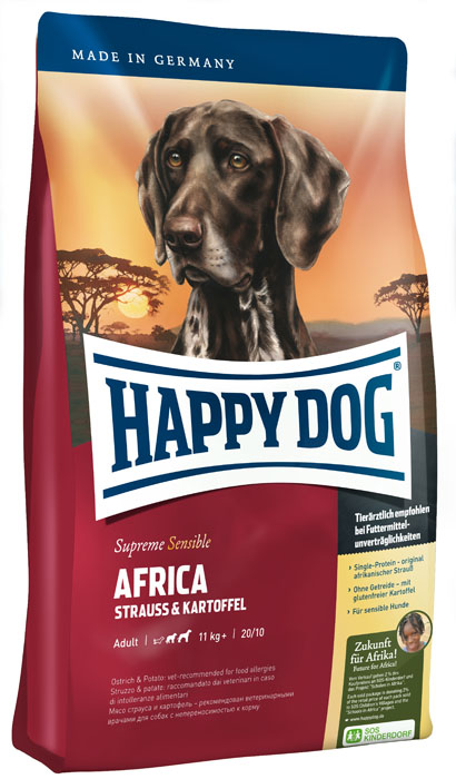 Корм сухой для собак Happy Dog Africa, монобелковый, с мясом страуса и картофелем, 4 кг0120710Корм сухой для собак Happy Dog Africa - необыкновенно вкусный полнорационный корм СуперПремиум класса для привередливых и разборчивых в еде собак. Корм отлично подходит для собак средних и крупных пород с чувствительным пищеварением (весом от 11 кг), так как учитывает их особые потребности: уникальная формула корма объединяет мясо страуса и картофель. Мясо страуса - эксклюзивный и редкий источник белка, идеально подходит для собак, страдающих пищевой непереносимостью. Картофель не содержит глютена и рекомендован для собак, не переносящих злаки. Эксклюзивную рецептуру дополняют ценные омега-3 и омега-6 жирные кислоты, которые гарантируют собаке здоровую кожу и блестящую шерсть. Специальная формула гранул соответствует форме челюстей собак крупных и средних пород. Состав: картофельные хлопья (48%), страус (18%), картофельный белок, масло из семян подсолнечника, свекольная пульпа, гидролизат печени, яблочная пульпа (0,8%), рапсовое масло, морская соль, дрожжи (экстрагированные). Аналитические составляющие: сырой протеин 20%, сырой жир 10%, сырая клетчатка 3%, сырая зола 7,5%, кальций 1,35%, фосфор 0,95%, натрий 0,35%, омега-6 жирные кислоты 2,6%, омега-3 жирные кислоты 0,28%. Добавки (на 1 кг): витамин А 12000 МЕ, витамин Д3 1200 МЕ. Микроэлементы (на 1 кг): железо 105 мг, медь 12 мг, цинк 125 мг, марганец 25 мг, йод 2 мг, селен 0,15 мг, антиоксиданты, природные экстракты с высоким содержанием токоферола. Товар сертифицирован.