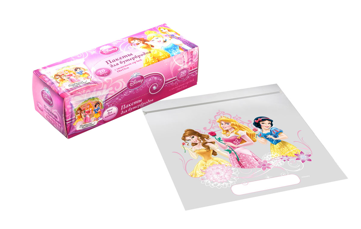 Пакеты для бутербродов Disney Принцессы, с застежкой, 16 см х 15 см, 20 штSC-FD421004Пакеты для бутербродов Disney Принцессы изготовлены из полиэтилена высокой плотности. Пакеты для бутербродов идеально подходят для упаковки бутербродов для школы и загородных поездок. Пакеты оснащены застежкой zip-lock, которая надежно закрывается и удобно открывается. Пакеты для бутербродов украшены яркими забавными рисунками с изображением принцесс. На пакете есть поле для надписей. Размер пакетов: 16 см х 15 см.