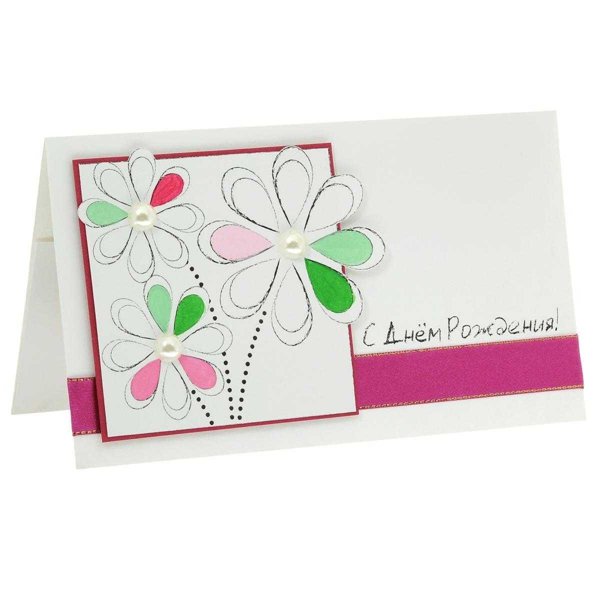 ОЖ-0011 Открытка-конверт «С Днём Рождения!» (рукописные цветы). Студия «Тётя Роза»2002783Характеристики: Размер 19 см x 11 см.Материал: Высоко-художественный картон, бумага, декор. Данная открытка может стать как прекрасным дополнением к вашему подарку, так и самостоятельным подарком. Так как открытка является и конвертом, в который вы можете вложить ваш денежный подарок или просто написать ваши пожелания на вкладыше. Лаконичная открытка подкупает своей чистотой. Цветочкив рамке разукрашены вручную и декорированы жемчужными полубусинками. Открытка оформлена сиреневой атласной лентой с золотым кантом. Надпись будто начерчена графитным мелком. Также открытка упакована в пакетик для сохранности.Обращаем Ваше внимание на то, что открытка может незначительно отличаться от представленной на фото.Открытки ручной работы от студии Тётя Роза отличаются своим неповторимым и ярким стилем. Каждая уникальна и выполнена вручную мастерами студии. (Открытка для мужчин, открытка для женщины, открытка на день рождения, открытка с днем свадьбы, открытка винтаж, открытка с юбилеем, открытка на все случаи, скрапбукинг)