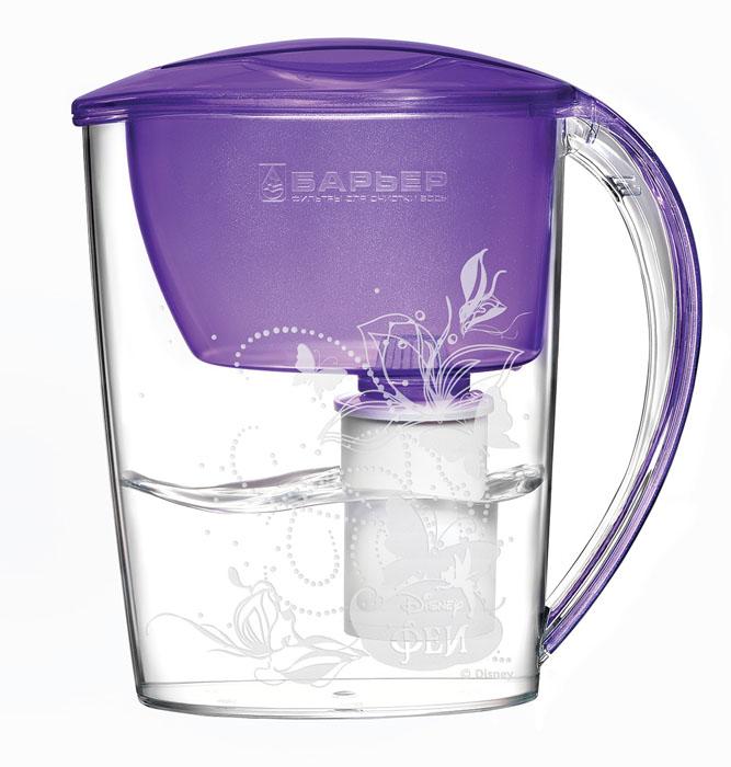 Фильтр-кувшин для воды Барьер Феи, со сменной кассетой, цвет: фиалковый, 2,5 лАксион Т-33Фильтр-кувшин «Феи» изготовлен из высококачественного пластика,рекомендованного для контакта с питьевой водой (BPA-free) и предназначен дляочистки воды. Очищенную воду можно давать детям с 4-х лет.Прочное полимерное уплотнение и герметичная резьба исключают попаданиенеочищенной воды из воронки в кувшин. Благодаря плоской форме, изделие можетразмещаться в дверцехолодильника.В набор входит также сменная кассета исказочные наклейки, позволяющие создать кувшин неповторимым.Уникальные технологии очистки и минерализации воды разработаны с учетом норм физиологической потребности детей от 4 лет в витаминах и минералах. Микроэлементы, входящие в состав кассеты, делают воду вкусной и полезной для ребенка. Фильтр-кувшин «Феи» и кассета сменная «Феи» одобреныМежрегиональной общественной организацией «Ассоциация Заслуженных врачейРоссийской Федерации» для организации питьевого режима детей от 4 лет.Материал: высококачественный пластик.Размер кувшина (ВхШХГ): 266 мм х 254 мм х 108 мм. Количество сказочных наклеек: 8 шт.Количество наклеек с месяцами года: 12 шт.