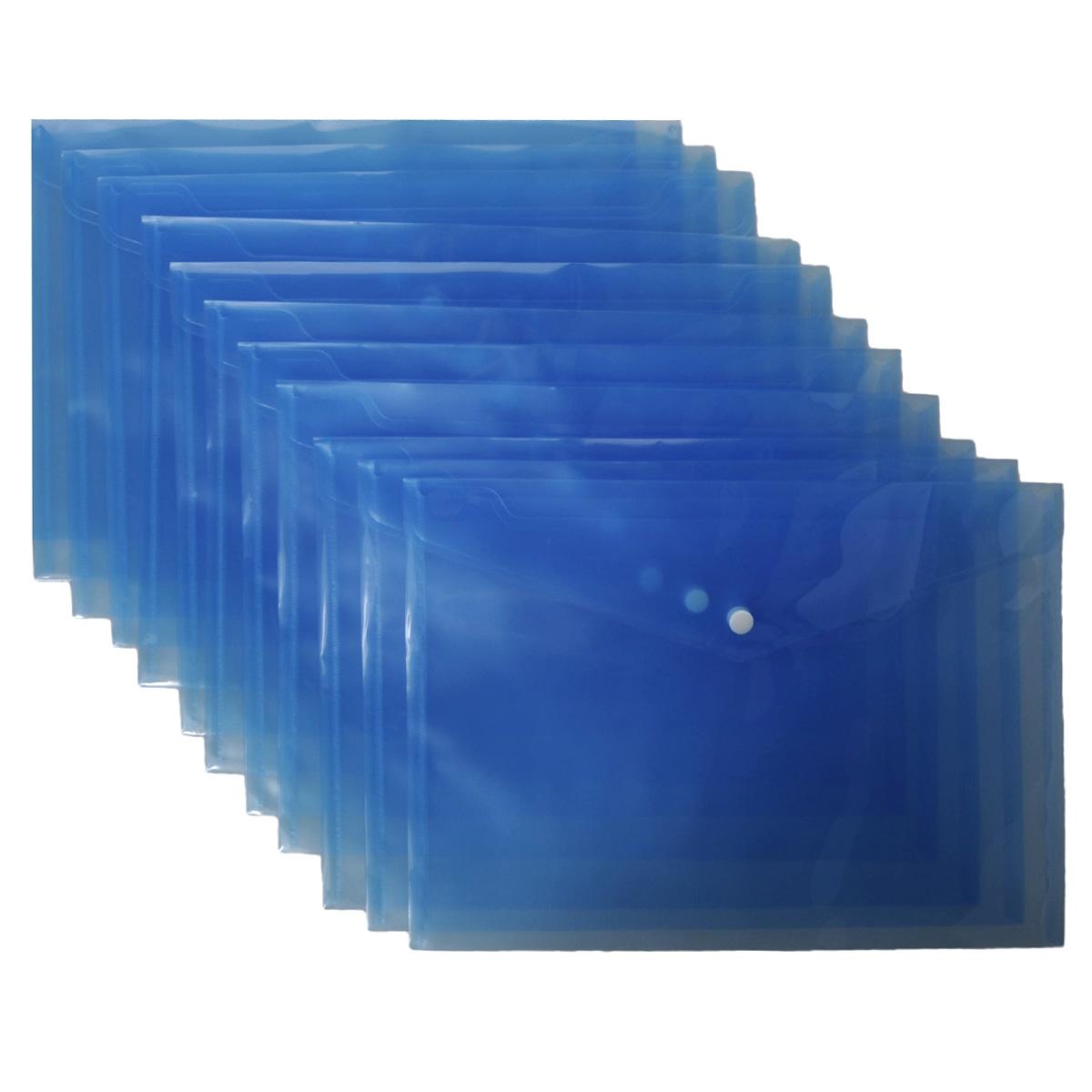 Папка-конверт на кнопке Centrum, цвет: синий. Формат А4, 12 шт291980-76Папка-конверт на кнопке Centrum - это удобный и функциональный офисный инструмент, предназначенный для хранения и транспортировки рабочих бумаг и документов формата А4. Папка изготовлена из полупрозрачного пластика, закрывается клапаном на кнопке. В комплект входят 12 папок формата A4. Папка-конверт - это незаменимый атрибут для студента, школьника, офисного работника. Такая папка надежно сохранит ваши документы и сбережет их от повреждений, пыли и влаги.