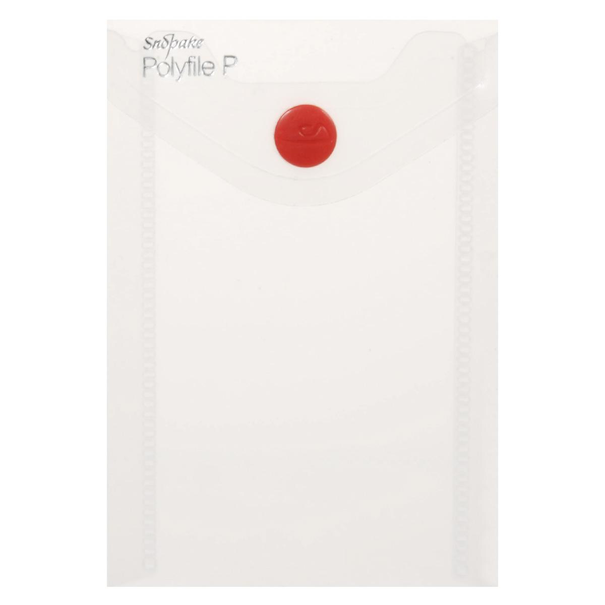 Папка-конверт на кнопке Snopake Polyfile P, вертикальная, цвет: прозрачный. Формат А7K13306