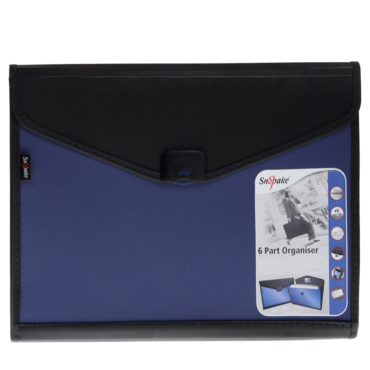Папка-конверт Snopake Organiser, 6 отделений, цвет: черный, синий. Формат А4K13520