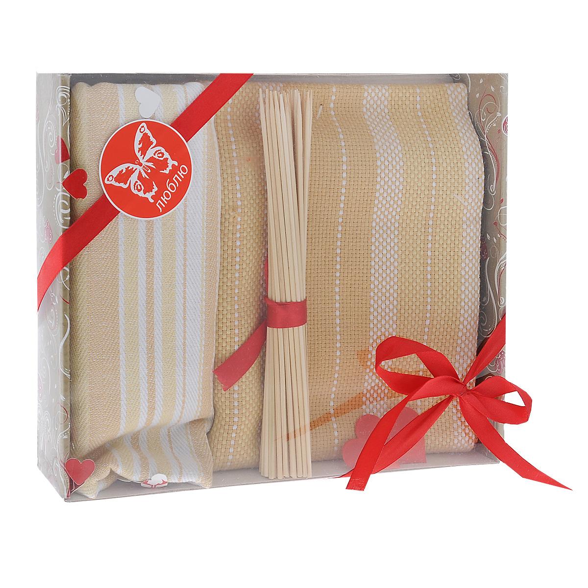 Подарочный набор для кухни Bonita Домашний уют. Полоска, цвет: бежевый, 3 предмета. 10121159107450-100Подарочный набор для кухни Bonita Домашний уют. Полоска состоит из двух жаккардовых полотенец и комплекта бамбуковых шпажек. Полотенца выполнены из 100% хлопка и декорированы рисунком в полоску. Такой набор оригинально украсит интерьер и будет уместен на любой кухне. Прекрасно подойдет в качестве подарка, который окажется не только приятным, но и полезным в хозяйстве. Набор упакован в подарочную коробку.Размер полотенец: 50 см х 75 см.Длина шпажек: 20 см.