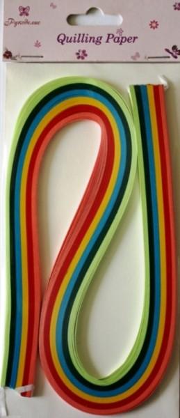 Бумага для квиллинга Рукоделие Ассорти-1, ширина 0,5 см, длина 54 см, 6 цветов, 120 шт55052Бумага для квиллинга Рукоделие Ассорти-1 - это порезанные специальным образом полоски бумаги определенной плотности. Такая бумага пластична, не расслаивается, легко и равномерно закручивается в спираль, благодаря чему готовым спиралям легче придать форму. Квиллинг (бумагокручение) - техника изготовления плоских или объемных композиций из скрученных в спиральки длинных и узких полосок бумаги. Из бумажных спиралей создаются необычные цветы и красивые витиеватые узоры, которые в дальнейшем можно использовать для украшения открыток, альбомов, подарочных упаковок, рамок для фотографий и даже для создания оригинальных бижутерий. Это простой и очень красивый вид рукоделия, не требующий больших затрат. Длина полоски бумаги: 54 см. Ширина полоски бумаги: 5 мм. Количество цветов: 6.
