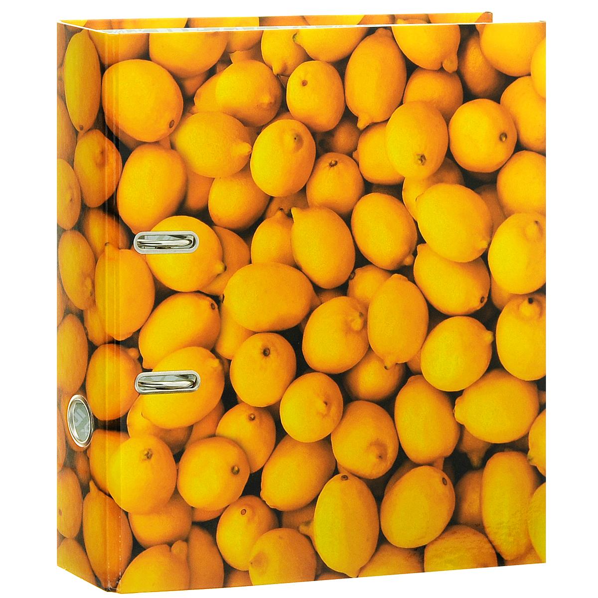 Папка-регистратор Index Лимон, ширина корешка 80 мм, цвет: желтый83475Папка-регистратор Index Лимон незаменима для работы с большими объемами бумаг дома и в офисе. Папка изготовлена из износостойкого высококачественного картона толщиной 2 мм, имеет ламинацию как снаружи, так и внутри. Папка оснащена прочным металлическим арочным механизмом, обеспечивающим надежную фиксацию перфорированных бумаг и документов формата А4. Для папки используется фурнитура только европейского производства. На торце папки расположено металлическое кольцо для удобства использования. Обложка папки оформлена красочным изображением спелых лимонов.Папка-регистратор станет вашим надежным помощником, она упростит работу с бумагами и документами и защитит их от повреждения, пыли и влаги.