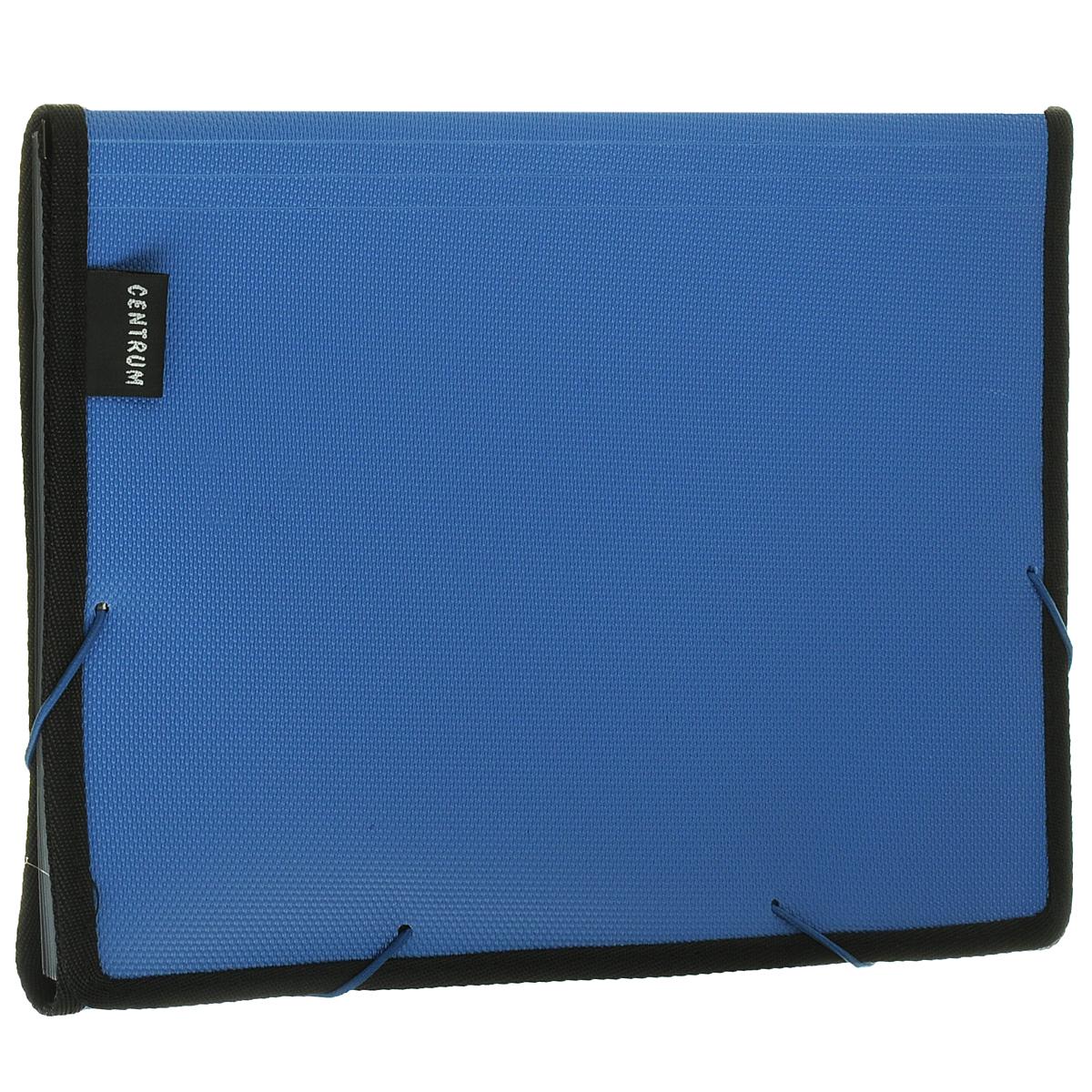 Папка на резинке Centrum, 6 отделений, цвет: синий. Формат А4FS-36052Папка Centrum - это удобный и функциональный офисный инструмент, предназначенный для хранения и транспортировки рабочих бумаг и документов формата А4.Папка с двойной угловой фиксацией резиновой лентой изготовлена из прочного высококачественного пластика и оформлена тиснением под текстиль. Папка состоит из 6 вместительных отделений с пластиковыми разделителями. Папка имеет опрятный и неброский вид. Края папки отделаны полиэстером, а уголки имеют закругленную форму, что предотвращает их загибание и помогает надолго сохранить опрятный вид обложки.Папка - это незаменимый атрибут для любого студента, школьника или офисного работника. Такая папка надежно сохранит ваши бумаги и сбережет их от повреждений, пыли и влаги.
