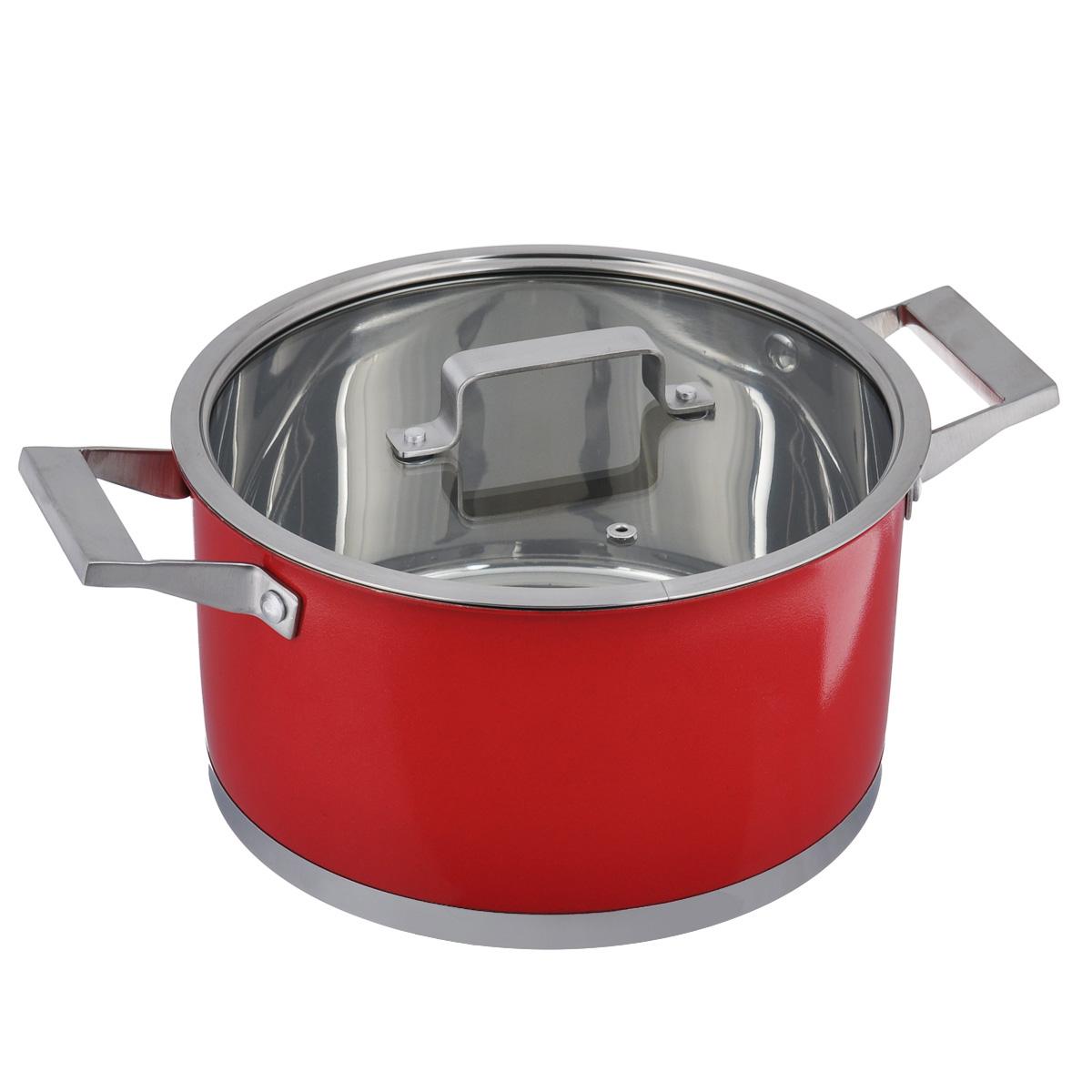 Кастрюля Bohmann с крышкой, цвет: красный, 2,6 л94672Кастрюля Bohmann изготовлена из высококачественной нержавеющей стали. Внутренняя поверхность имеет зеркальную полировку, а внешняя - матовое покрытие красного цвета. Нержавеющая сталь обладает высокой стойкостью к коррозии и кислотам. Прочность, долговечность и надежность этого материала, а также первоклассная обработка обеспечивают практически неограниченный запас прочности и неизменно привлекательный внешний вид. Кастрюля имеет многослойное капсульное дно с алюминиевым основанием, которое быстро и равномерно накапливает тепло и так же равномерно передает его пище. Капсульное дно позволяет готовить блюда с минимальным количеством воды и жира, сохраняя при этом вкусовые и питательные свойства продуктов. Применение технологии многослойного дна создает эффект удержания тепла - пища готовится и после отключения плиты благодаря термоаккумулирующим свойствам посуды. Диаметры изделий соответствуют общепринятым размерам конфорок бытовых плит. Посуда оснащена удобными металлическими ручками с матовой полировкой. Крышка выполнена из термостойкого стекла. Можно использовать на газовых, электрических, галогенных, стеклокерамических, индукционных плитах. Можно мыть в посудомоечной машине. Высота стенки: 10,5 см. Ширина кастрюли (с учетом ручек): 27 см. Толщина стенки: 1 мм. Толщина дна: 5 мм.
