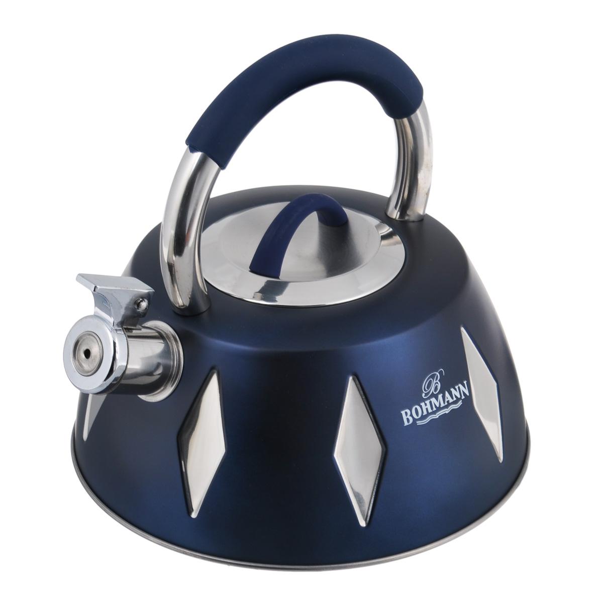Чайник Bohmann со свистком, цвет: синий, 3,5 л. BH - 9948115510Чайник Bohmann изготовлен из высококачественной нержавеющей стали с цветным матовым покрытием. Нержавеющая сталь - материал, из которого в течение нескольких десятилетий во всем мире производятся столовые приборы, кухонные инструменты и различные аксессуары. Этот материал обладает высокой стойкостью к коррозии и кислотам. Прочность, долговечность и надежность этого материала, а также первоклассная обработка обеспечивают практически неограниченный запас прочности и неизменно привлекательный внешний вид. Чайник оснащен удобной ручкой с цветной силиконовой вставкой, что предотвращает появление ожогов и обеспечивает безопасность использования. Носик чайника имеет откидной свисток, который подскажет, когда вода закипела. Можно использовать на газовых, электрических, галогеновых, стеклокерамических, индукционных плитах. Можно мыть в посудомоечной машине. Высота чайника (без учета ручки и крышки): 10 см. Высота чайника (с учетом ручки): 22 см. Диаметр основания чайника: 22 см. Диаметр чайника (по верхнему краю): 10 см.