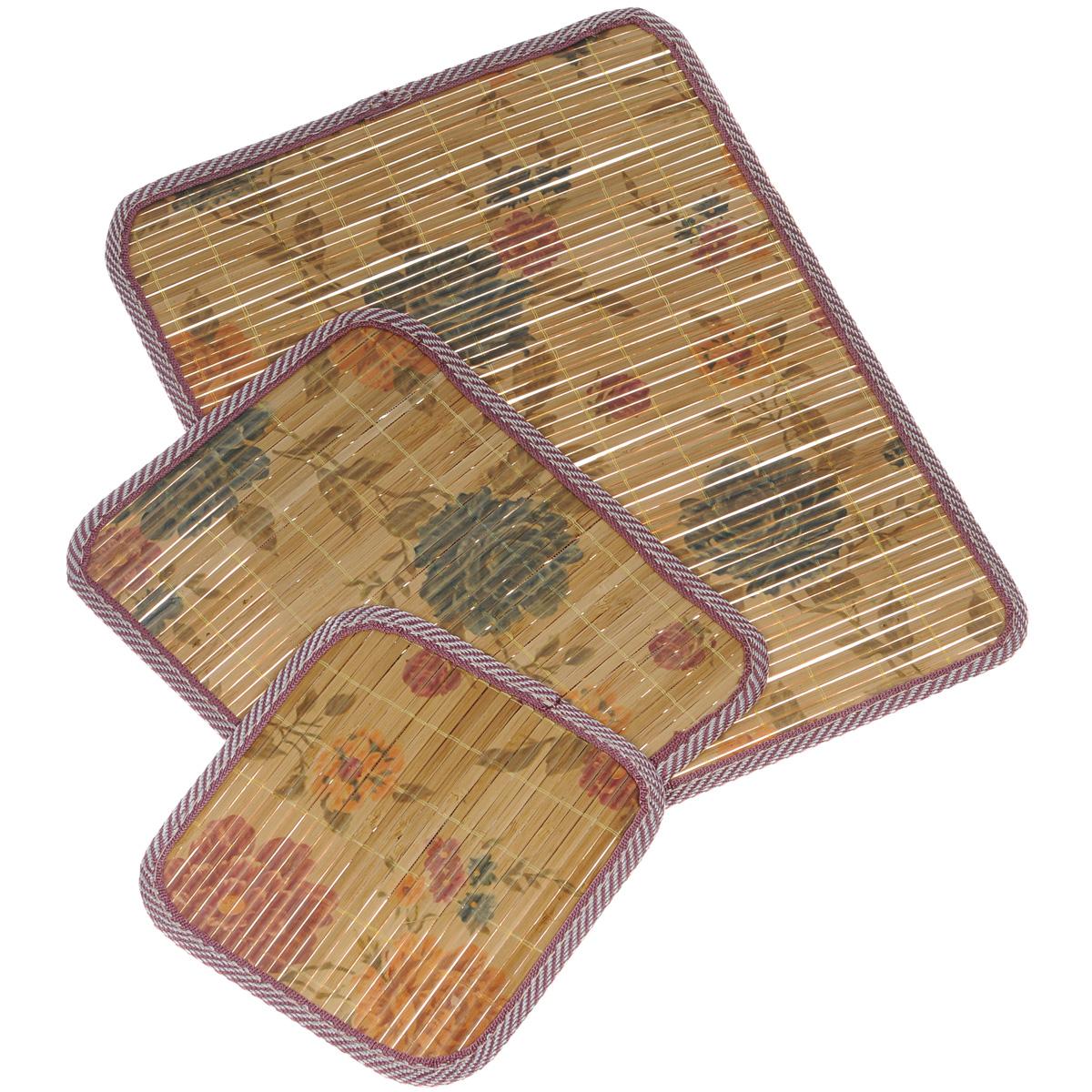 Набор салфеток под горячее Dommix, цвет: коричневый, 3 шт. OW041694538Набор Dommix, состоящий из 3 бамбуковых салфеток под горячее, идеально впишется в интерьер современной кухни. Изделия декорированы изображением цветов. Салфетки из бамбука не впитывают запахи, легко моются, не деформируются при длительном использовании. Бамбук обладает антибактериальными и водоотталкивающими свойствами. Также имеют высокую прочность.Каждая хозяйка знает, что салфетка под горячее - это незаменимый и очень полезный аксессуар на каждой кухне. Ваш стол будет не только украшен оригинальной салфеткой, но и сбережен от воздействия высоких температур ваших кулинарных шедевров. Размер маленькой салфетки: 18 см х 18,5 см х 0,2 см.Размер средней салфетки: 27,5 см х 20,5 см х 0,2 см.Размер большой салфетки: 39 см х 30 см х 0,2 см.