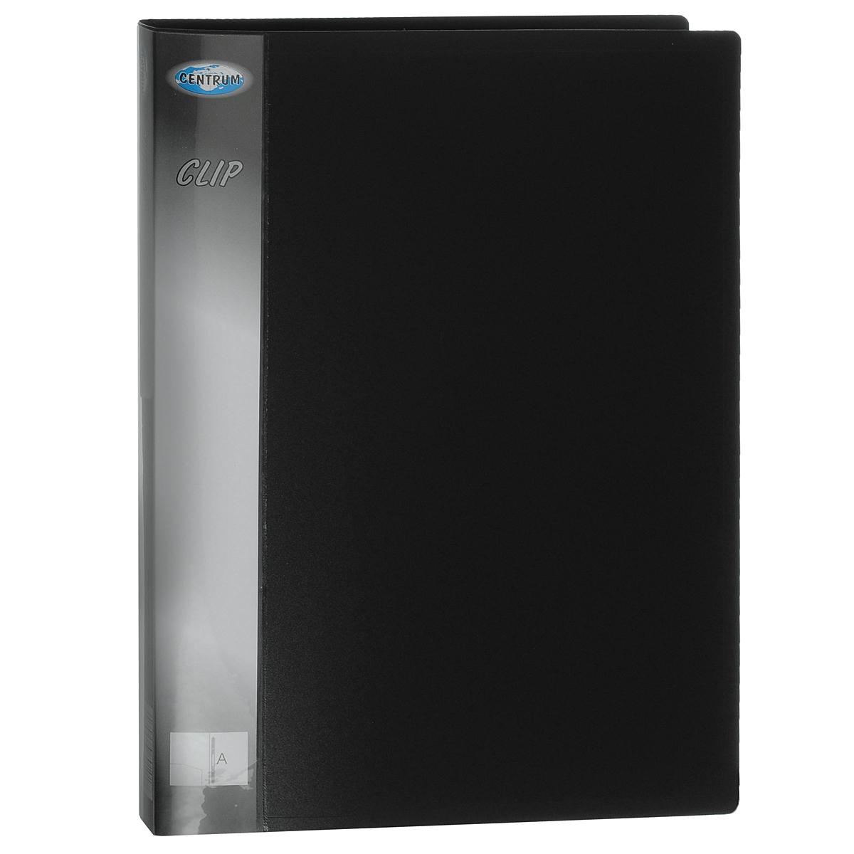 Папка-скоросшиватель Centrum, цвет: черный. Формат А4FS-36054Папка-скоросшиватель Centrum станет вашим верным помощником дома и в офисе. Это удобный и функциональный инструмент, предназначенный для хранения и транспортировки рабочих бумаг и документов формата А4.Папка изготовлена из прочного высококачественного пластика толщиной 0,6 мм, оснащена металлическим пружинным скоросшивателем, который позволяет быстро фиксировать большие объемы документов. На внутренней стороне обложки располагается открытый карман из прозрачного пластика. Уголки имеют закругленную форму, что предотвращает их загибание и помогает надолго сохранить опрятный вид обложки.Папка - это незаменимый атрибут для любого студента, школьника или офисного работника. Такая папка надежно сохранит ваши бумаги и сбережет их от повреждений, пыли и влаги.