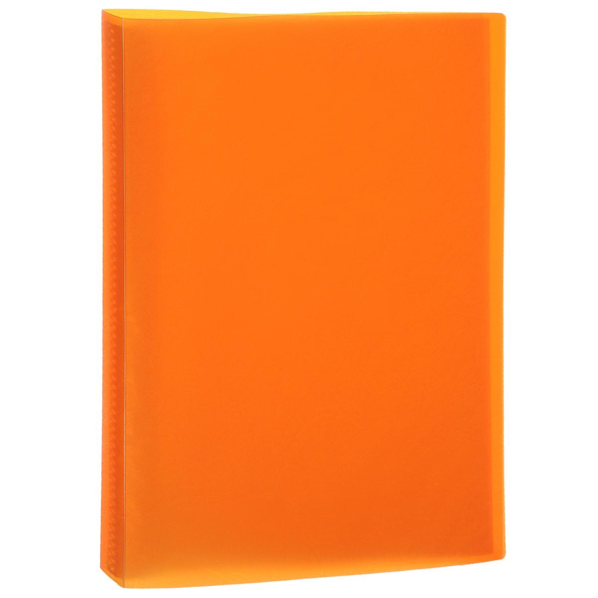Папка Centrum, 20 файлов, цвет: оранжевый. Формат А420AV4_14177Папка Centrum - это удобный и функциональный офисный инструмент, предназначенный для хранения и транспортировки рабочих бумаг и документов формата А4.Папка изготовлена из прочного высококачественного пластика и включает в себя 20 прозрачных вкладышей-файлов. Обложка папки оформлена тиснением под кожу. Папка имеет опрятный и неброский вид. Уголки папки имеют закругленную форму, что предотвращает их загибание и помогает надолго сохранить опрятный вид обложки.Папка - это незаменимый атрибут для любого студента, школьника или офисного работника. Такая папка надежно сохранит ваши бумаги и сбережет их от повреждений, пыли и влаги.