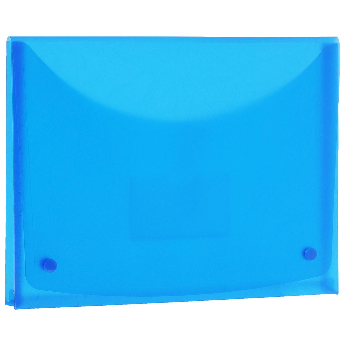 Папка-конверт Centrum Soft Touch, на 2 кнопках, цвет: синий. Формат А484016СПапка-конверт Centrum Soft Touch станет вашим верным помощником дома и в офисе. Это удобный и функциональный инструмент, предназначенный для хранения и транспортировки рабочих бумаг и документов формата А4.Папка изготовлена из прочного высококачественного пластика толщиной 0,4 мм и закрывается на широкий клапан с двумя кнопками. Под клапаном располагается прозрачный открытый карман для дискеты. Папка имеет специальную вырубку, облегчающую изъятие документов. Уголки имеют закругленную форму, что предотвращает их загибание и помогает надолго сохранить опрятный вид обложки. Папка оформлена тиснением под кожу. Папка - это незаменимый атрибут для любого студента, школьника или офисного работника. Такая папка надежно сохранит ваши бумаги и сбережет их от повреждений, пыли и влаги.