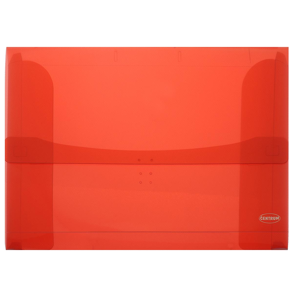 Папка-конверт Centrum, цвет: красный. Формат А3K13520Портфель Centrum - это удобный и функциональный офисный инструмент, предназначенный для хранения и транспортировки рабочих бумаг и документов формата А3.Портфель изготовлен из износостойкого непрозрачного пластика, имеет перфорацию на клапане и обложке, что позволяет закреплять клапан лентой или шнурком. Внутри изделие имеет три клапана, что обеспечивает надежную фиксацию бумаг и документов. Портфель имеет опрятный и неброский вид, оформлена тиснением в виде параллельной штриховки.Портфель - это незаменимый атрибут для студента, школьника, офисного работника. Он превосходно подойдет для транспортировки эскизов и станет верным помощником для художников. Такой портфель надежно сохранит ваши документы и сбережет их от повреждений, пыли и влаги.