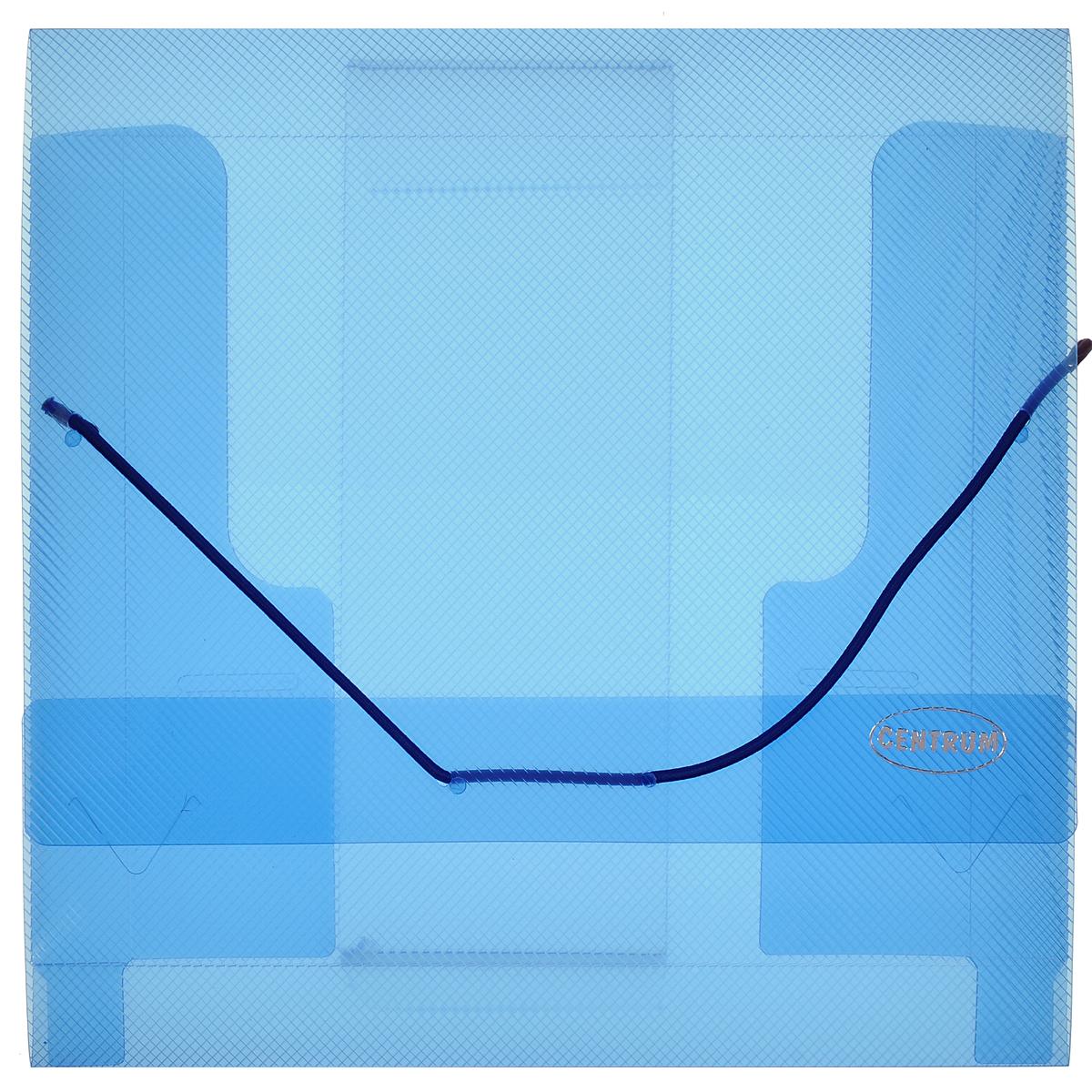 Папка-конверт Centrum, на резинке, цвет: синий. 80800AZ-FZA5Папка на резинке Centrum станет вашим верным помощником дома и в офисе. Это удобный и функциональный инструмент, предназначенный для хранения и транспортировки рабочих бумаг и документов формата А5 и меньше.Папка с двойной угловой фиксацией резиновой лентой изготовлена из прочного высококачественного пластика толщиной 0,65 мм. Внутри папки расположены 3 клапана, обеспечивающие надежную фиксацию бумаг. Папка оформлена тиснением в виде параллельной штриховки. Папка - это незаменимый атрибут для любого студента, школьника или офисного работника. Такая папка надежно сохранит ваши бумаги и сбережет их от повреждений, пыли и влаги.