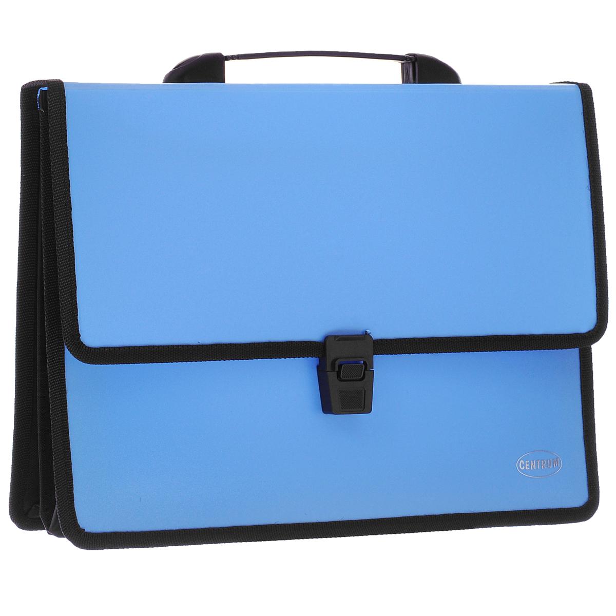 Папка-портфель Centrum, 2 отделения, с ручкой, цвет: голубойFS-36052Папка-портфель Centrum станет вашим верным помощником дома и в офисе. Это удобный и функциональный инструмент, предназначенный для хранения и транспортировки больших объемов рабочих бумаг и документов формата А4.Папка изготовлена из износостойкого высококачественного пластика толщиной 0,70 мм, и закрывается на широкий клапан с замком. Состоит из 2 вместительных отделений. Грани папки отделаны полиэстером, а уголки закруглены для обеспечения дополнительной прочности и сохранности опрятного вида папки. Папка имеет удобную ручку для переноски.Папка - это незаменимый атрибут для любого студента, школьника или офисного работника. Такая папка надежно сохранит ваши бумаги и сбережет их от повреждений, пыли и влаги.