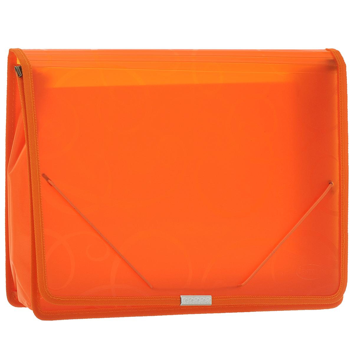Папка-конверт на резинке Centrum, цвет: оранжевый. Формат А4. 80802226479Папка-конверт на резинке Centrum - это удобный и функциональный офисный инструмент, предназначенный для хранения итранспортировки рабочих бумаг и документов формата А4.Папка с двойной угловой фиксацией резиновой лентой изготовлена из износостойкого полупрозрачного полипропилена. Внутри папка имеет одно объемное отделение повышенной вместимости и 2 прозрачных открытых кармашка. Грани папки отделаны полиэстером, что обеспечивает дополнительную прочность и опрятный вид папки. Клапан украшен декоративным металлическим элементом. Папка оформлена тиснением в виде абстрактного орнамента.Папка - это незаменимый атрибут для студента, школьника, офисного работника. Такая папка надежно сохранит ваши документы исбережет их от повреждений, пыли и влаги.