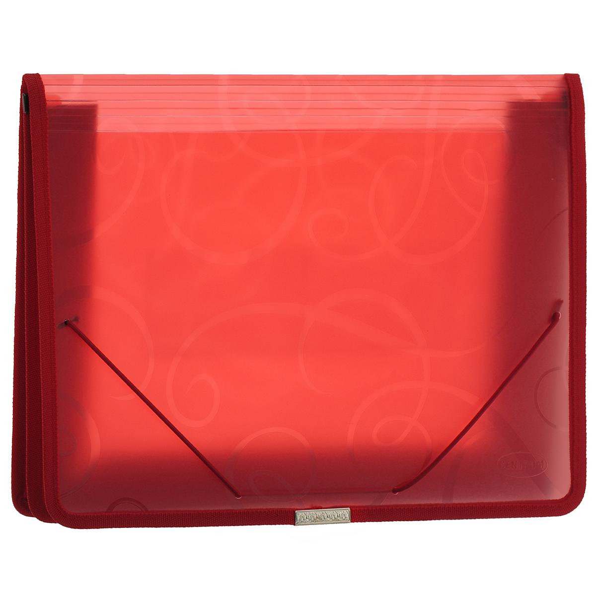 Centrum Папка-конверт на резинке цвет красный 80802КПкм4к_08882Папка-конверт на резинке Centrum - это удобный и функциональный офисный инструмент, предназначенный для хранения и транспортировки рабочих бумаг и документов формата А4.Папка с двойной угловой фиксацией резиновой лентой изготовлена из износостойкого полупрозрачного полипропилена. Внутри папка имеет одно объемное отделение повышенной вместимости и 2 прозрачных открытых кармашка. Грани папки отделаны полиэстером, что обеспечивает дополнительную прочность и опрятный вид папки. Клапан украшен декоративным металлическим элементом. Папка оформлена тиснением в виде абстрактного орнамента.Папка - это незаменимый атрибут для студента, школьника, офисного работника. Такая папка надежно сохранит ваши документы и сбережет их от повреждений, пыли и влаги.