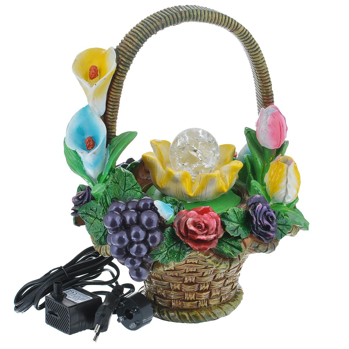 Фонтан Sima-land Корзина: фрукты и цветыPH7242Фонтан Sima-land Корзина: фрукты и цветы изготовлен из высококачественного полистоуна. Фонтан выполнен в виде композиции из плетеной корзины с фруктами и цветами. Журчание и вид воды, стекающей струями из миниатюрного фонтана, могут изменить облик вашего дома и сада, создавая атмосферу покоя. Вода в фонтане циркулирует при помощи электрического погружного центробежного насоса, входящего в комплект. Интерьерный фонтан хорошо увлажняет воздух, благотворно воздействуя на наш организм и создавая здоровый климат. УВАЖАЕМЫЕ КЛИЕНТЫ! Обращаем ваше внимание на то, что фонтан работает от сети 220V.