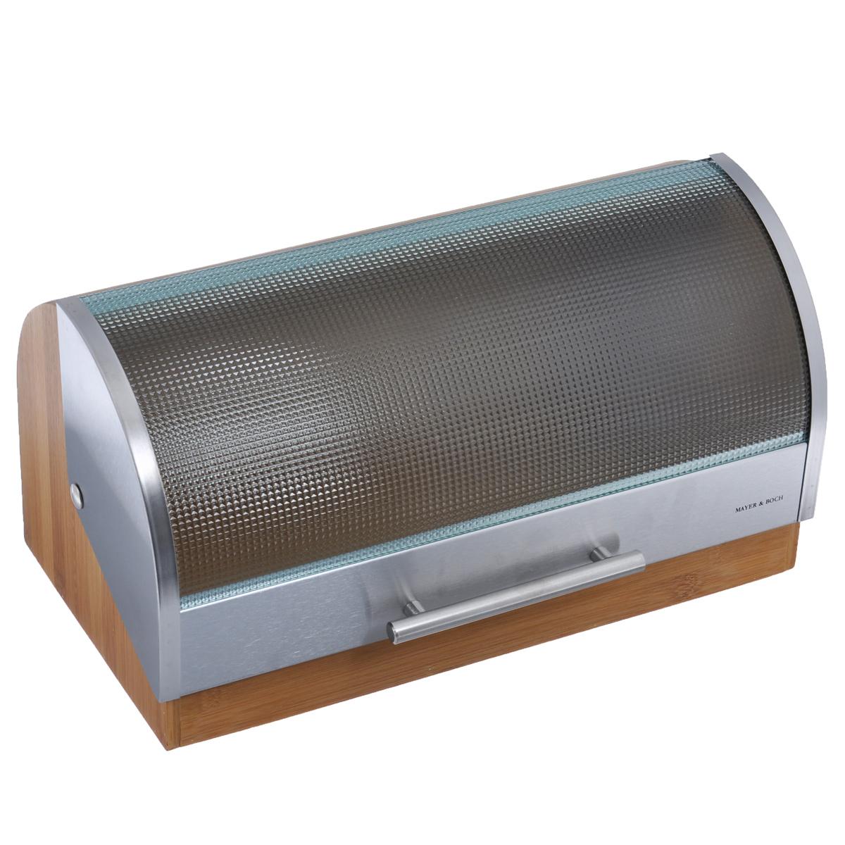 Хлебница Mayer & Boch, 39,5 х 24 х 21 см21395599Хлебница Mayer & Boch, выполненная в классическом дизайне, позволит сохранить ваш хлеб свежим и вкусным. Корпус хлебницы выполнен из натурального бамбука. Крышка, выполненная из стекла и нержавеющей стали плавно открывается и является герметичной. Крышка оснащена металлической ручкой. Эксклюзивный дизайн, эстетика и функциональность хлебницы делают ее превосходным аксессуаром на вашей кухне. Размер хлебницы: 39,5 см х 24 см х 21 см.