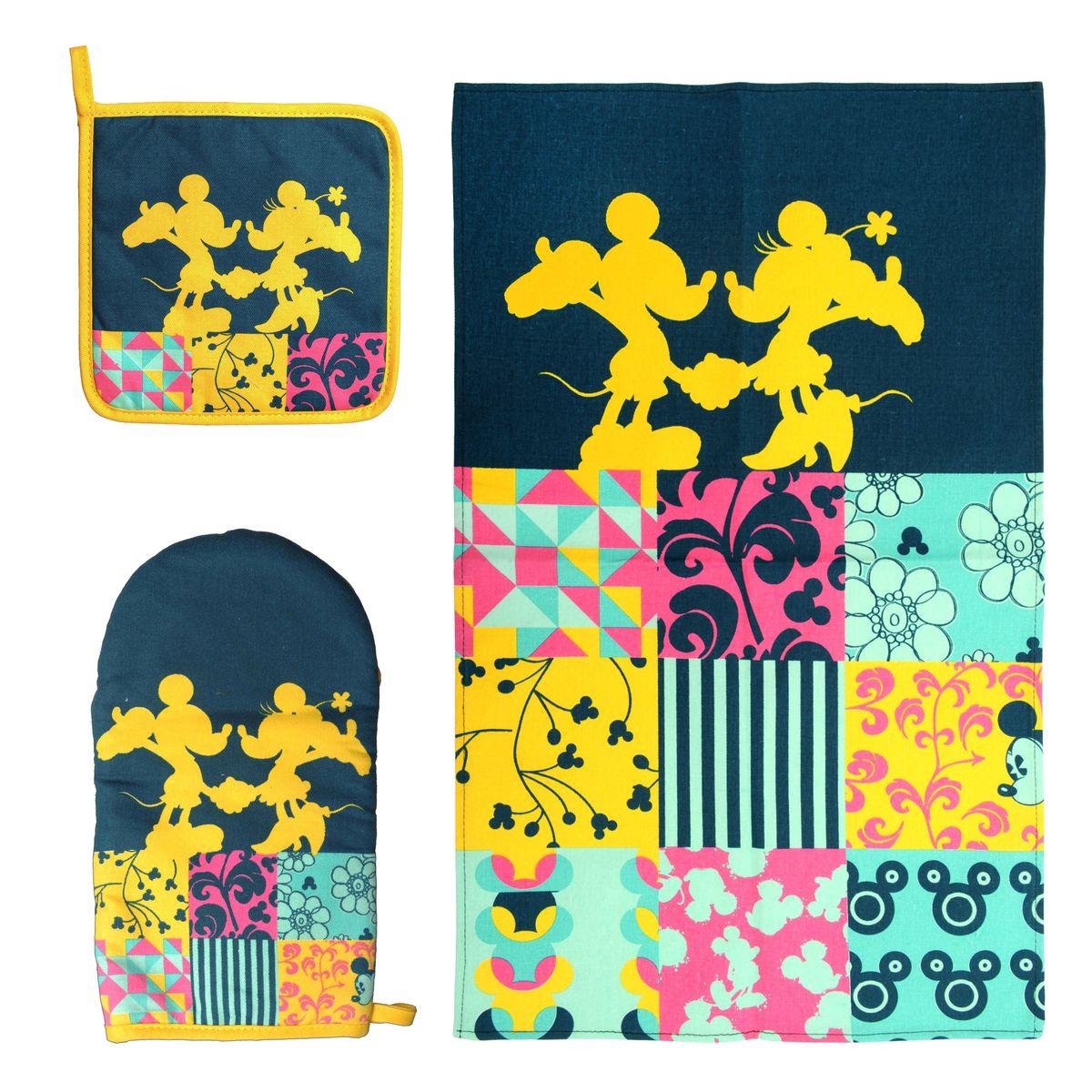 Набор для кухни Disney Mickey&Minnie, 3 предмета1004900000360Набор для кухни Disney Mickey&Minnie, выполненный из 100% хлопка, состоит из полотенца, прихватки, варежки. Предметы набора оформлены изображением Микки Мауса и Минни Мауса, а также красивыми узорами. Прихватку и рукавицу можно подвешивать благодаря имеющимся на них петелькам. Такой набор - отличный вариант для практичной и современной молодой хозяйки.Размер полотенца: 37 см х 62 см.Размер прихватки: 18 см х 18 см.Размер варежки: 15 см х 28 см.