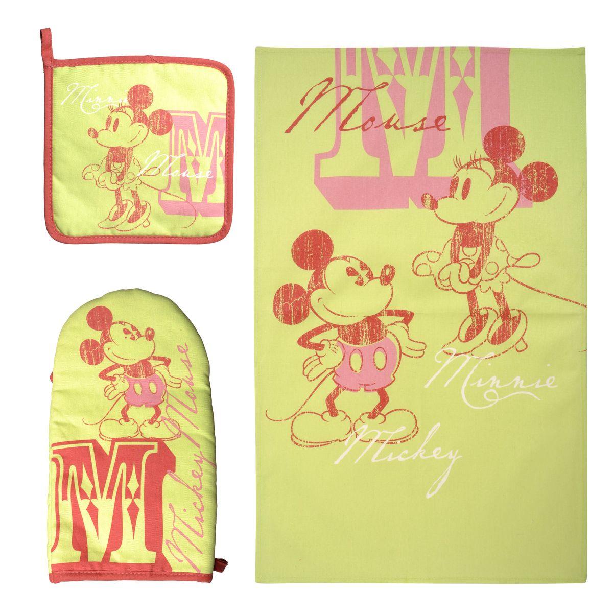 Набор для кухни Disney Mickey&Minnie, 3 предмета. 65095VT-1520(SR)Набор для кухни Disney Mickey&Minnie, выполненный из 100% хлопка, состоит из полотенца, прихватки, варежки. Предметы набора оформлены изображением Микки Мауса и Минни Мауса. Прихватку и рукавицу можно подвешивать благодаря имеющимся на них петелькам. Такой набор - отличный вариант для практичной и современной молодой хозяйки.Размер полотенца: 37 см х 62 см.Размер прихватки: 18 см х 18 см.Размер варежки: 15 см х 28 см.