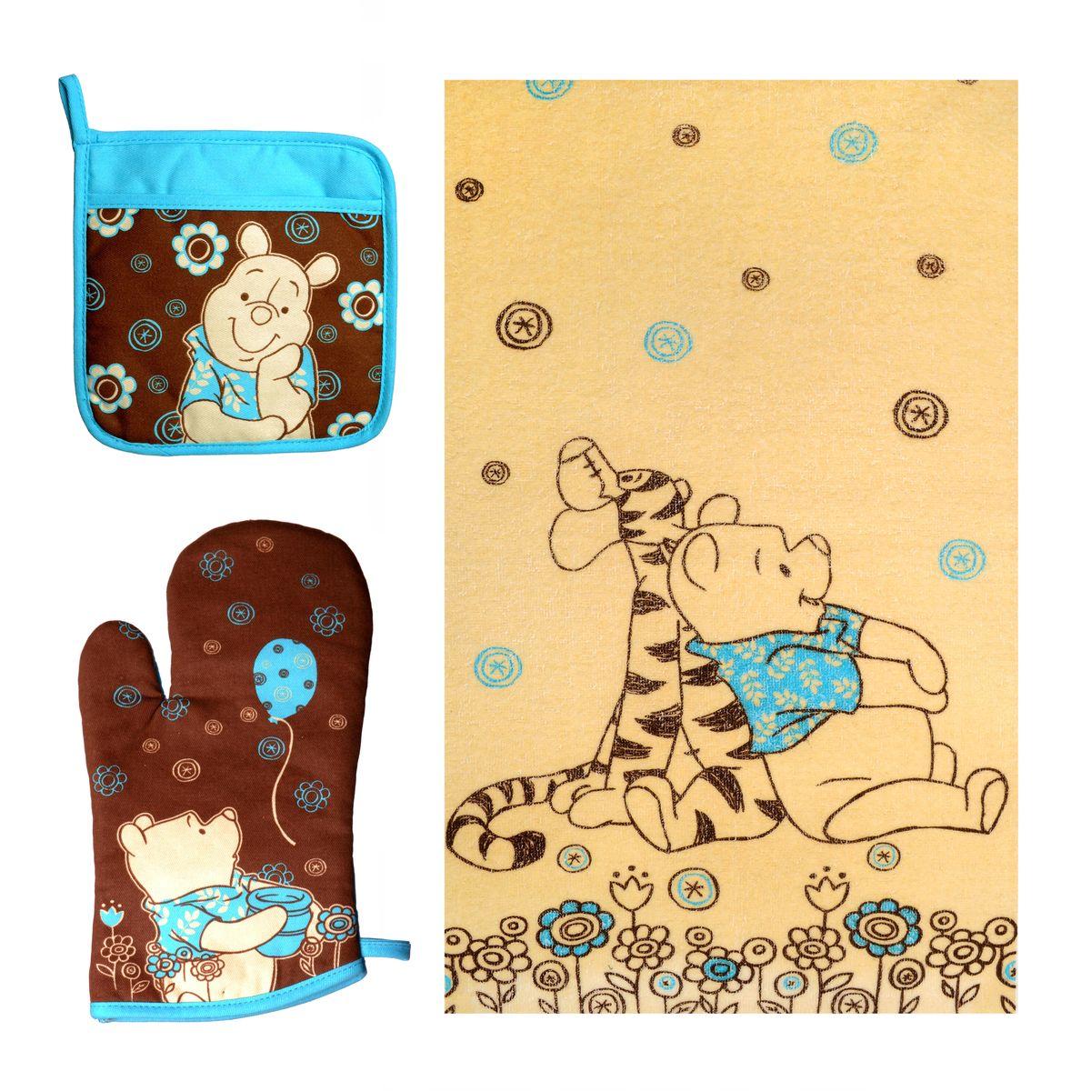 Набор для кухни Disney Winnie The Pooh, 3 предметаВетерок 2ГФНабор для кухни Disney Winnie The Pooh, выполненный из 100% хлопка, состоит из полотенца, прихватки с карманом, варежки. Предметы набора оформлены изображением Винни Пуха и красивыми узорами. Прихватку и рукавицу можно подвешивать благодаря имеющимся на них петелькам. Такой набор - отличный вариант для практичной и современной молодой хозяйки.Размер полотенца: 37 см х 62 см.Размер прихватки: 18 см х 18 см.Размер варежки: 17 см х 28 см.