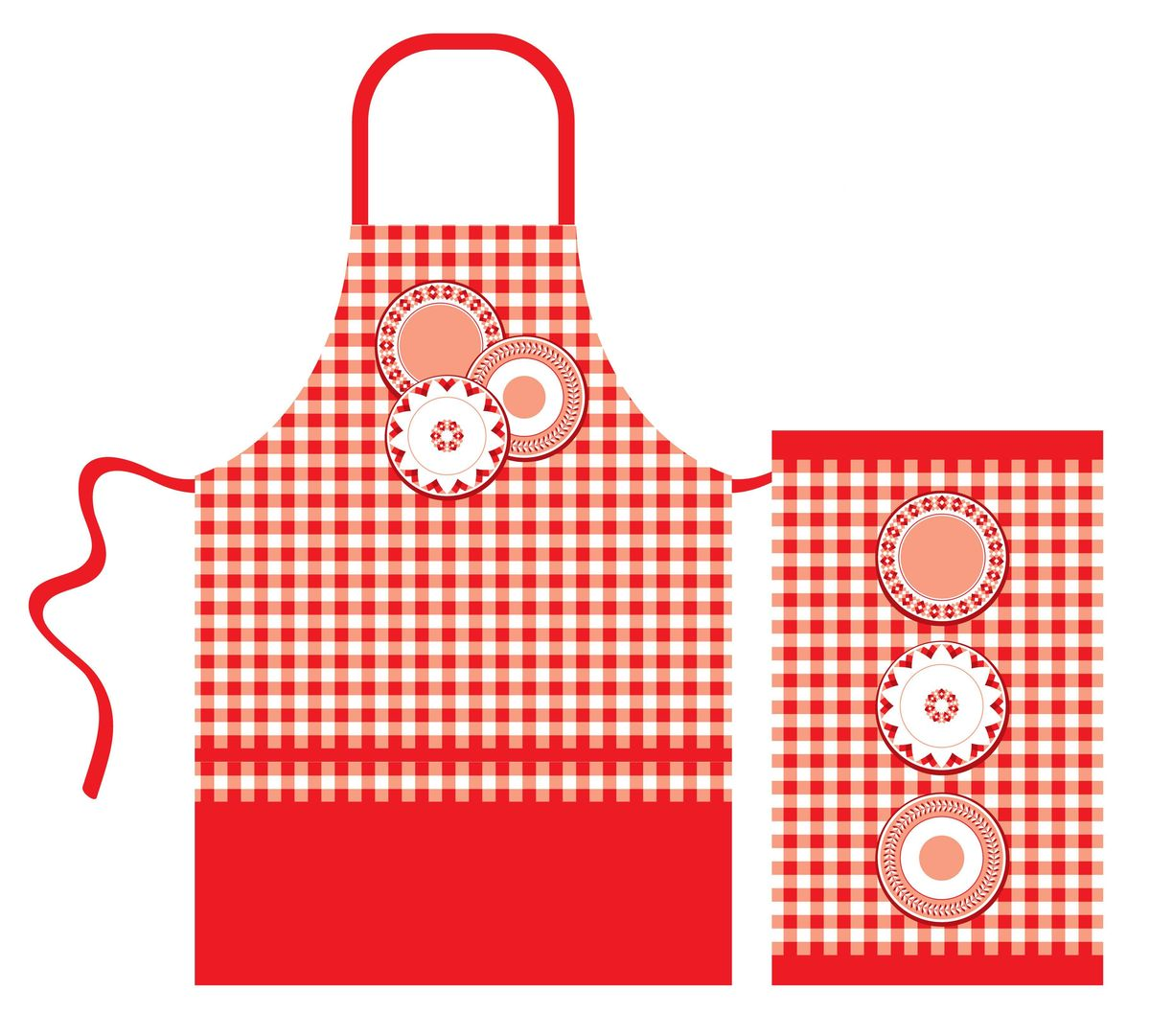 Набор кухонного текстиля Home Queen Red kitchen: фартук, полотенце115510Набор кухонного текстиля Home Queen Red kitchen, состоящий из фартука и полотенца, выполнен из 100% хлопка и украшен ярким клетчатым принтом и изображением тарелок.Фартук на завязках вокруг талии. Такой набор украсит интерьер вашей кухни и внесет яркую ноту в повседневные заботы.