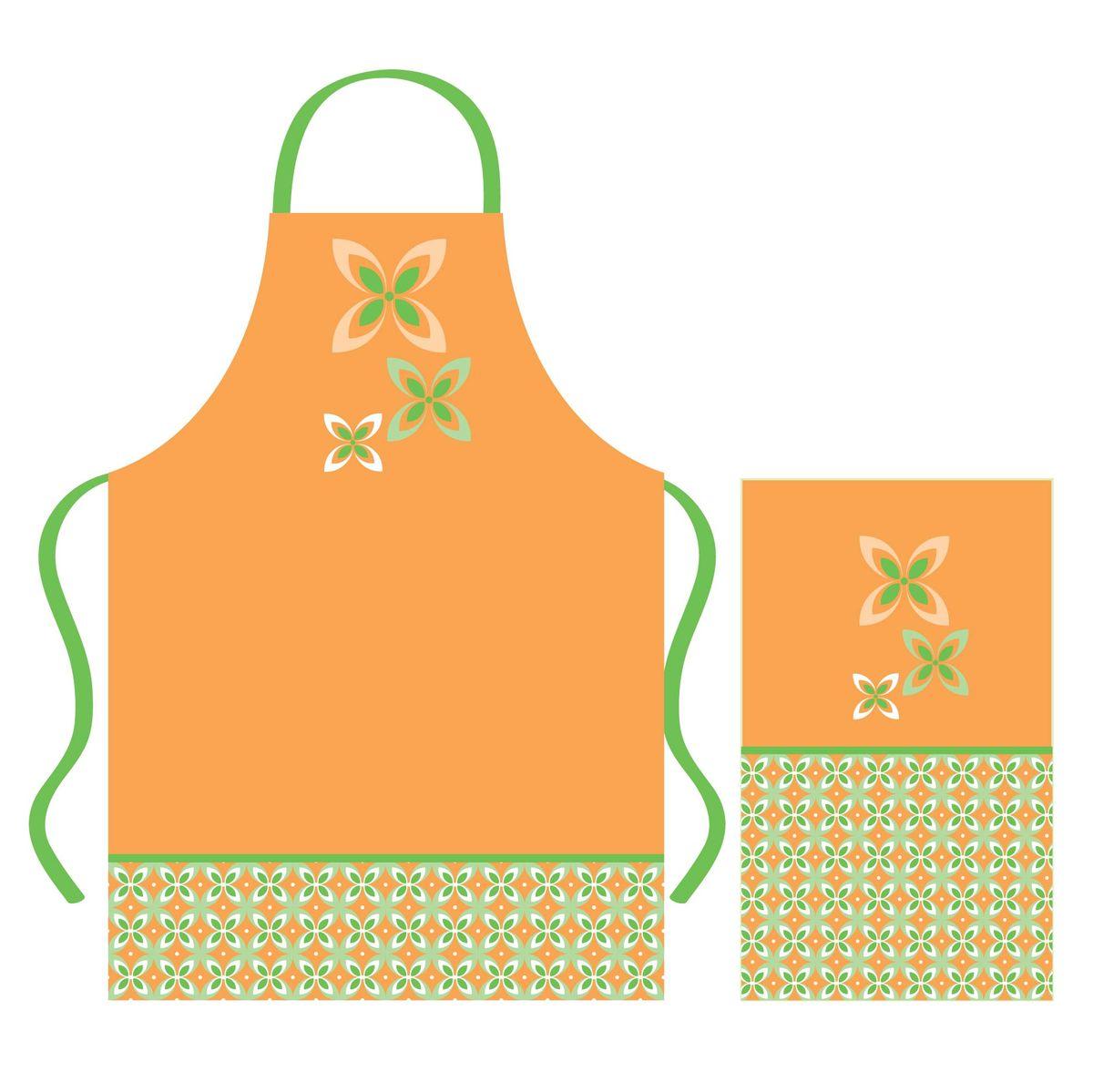 Набор кухонного текстиля Home Queen Cooking time: фартук, полотенцеKGB GX-3Набор кухонного текстиля Home Queen Cooking time, состоящий из фартука и полотенца, выполнен из 100% хлопка и украшен оригинальным принтом.Фартук на завязках вокруг талии. Такой набор украсит интерьер вашей кухни и внесет яркую ноту в повседневные заботы.