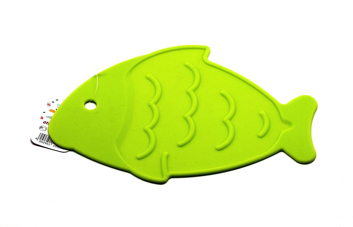 Подставка под горячее Atlantis Рыба, цвет: салатовый, 26 х 17 см115610Подставка под горячее Atlantis Рыба изготовлена из высококачественного пищевого силикона. Выдерживает температуру до +230°С, не впитывает запахи и предохраняет поверхность вашего стола от высоких температур. Оригинальный дизайн внесет свежесть и новизну в интерьер кухни. Подставка под горячее Atlantis Рыба станет незаменимым помощником на кухне.Можно мыть в посудомоечной машине.