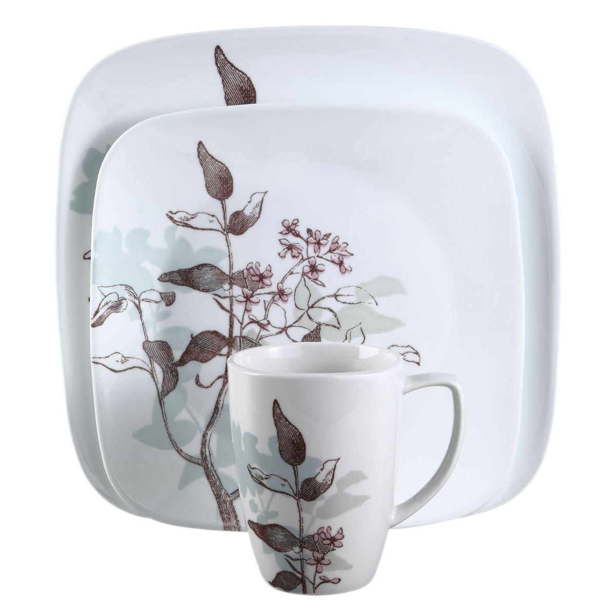 Набор посуды Twilight Grove 16пр, цвет: белый с рисункомFS-91909Преимуществами посуды Corelle являются долговечность, красота и безопасность в использовании. Вся посуда Corelle изготавливается из высококачественного ударопрочного трехслойного стекла Vitrelle и украшена деколями американских и европейских дизайнеров. Рисунки не стираются и не царапаются, не теряют свою яркость на протяжении многих лет. Посуда Corelle не впитывает запахов и очень долгое время выглядит как новая. Уникальная эмаль, используемая во время декорирования, фактически становится единым целым с поверхностью стекла, что гарантирует долгое сохранение нанесенного рисунка. Еще одним из главных преимуществ посуды Corelle является ее безопасность. В производстве используются только безопасные для пищи пигменты эмали, при производстве посуды не применяется вредный для здоровья человека меламин. Изделия из материала Vitrelle: Прочные и легкие; Выдерживают температуру до 180С; Могут использоваться в посудомоечной машине и микроволновой печи; Штабелируемые; Устойчивы к царапинам; Ударопрочные; Не содержит меламин.4 обеденные тарелки 26 см; 4 закусочные тарелки 22 см; 4 суповые тарелки 650 мл; 4 фарфоровые кружки 355 мл