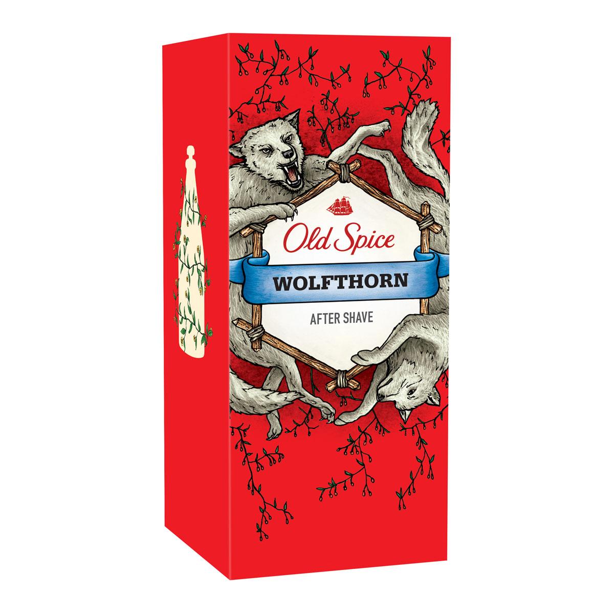Old Spice Лосьон после бритья Wolfthorn,100мл401960Лосьон после бритья Old Spice Wolfthorn с бодрящим ароматом пробуждает чувства и наполняет ваш день ощущением свежести. Великолепный аромат предназначен только для настоящих мужчин. Пробуди в себе хищника!Old Spice Wolfthorn – это аромат звериного желания и колючей шерсти. Если запах колючей шерсти – это не то, что ты ищешь в аромате, то как насчет этого: Wolfthorn – это аромат нежных поцелуев бабочек и таинственного леденящего взгляда, от которого даже по спинам эскимосов бегут мурашки.- Внимание! Когда ты умываешься лосьоном после бритья Old Spice ты можешь внезапно пробудить воспоминания о катании на водных лыжах на голубых океанских волнах за минуту до того, как соберёшься выпить коктейль на яхте рядом с прекрасной девушкой, любуясь закатом.Характеристики:Объем: 100 мл. Производитель: Германия. Товар сертифицирован.