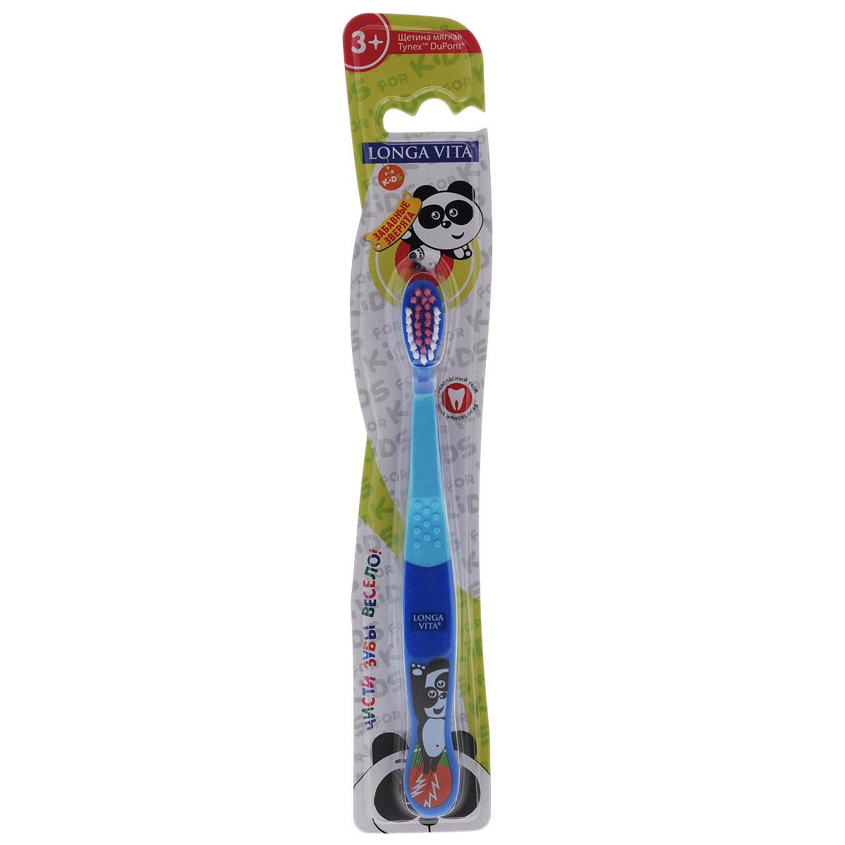 Детская зубная щетка Longa Vita Забавные зверята, цвет: синий, голубой5010777139655Детская зубная щетка Longa Vita Забавные зверята идеальна для детского ротика. Щетка имеет эргономичную ручку с противоскользящей поверхностью, небольшую чистящую головку, цветовое поле мягкой щетины дляоптимального дозирования пасты. Щетка оформлена изображением панды.Уважаемые клиенты!Обращаем ваше внимание на возможные изменения в дизайне, связанные с ассортиментом продукции. Поставка осуществляется в зависимости от наличия на складе.