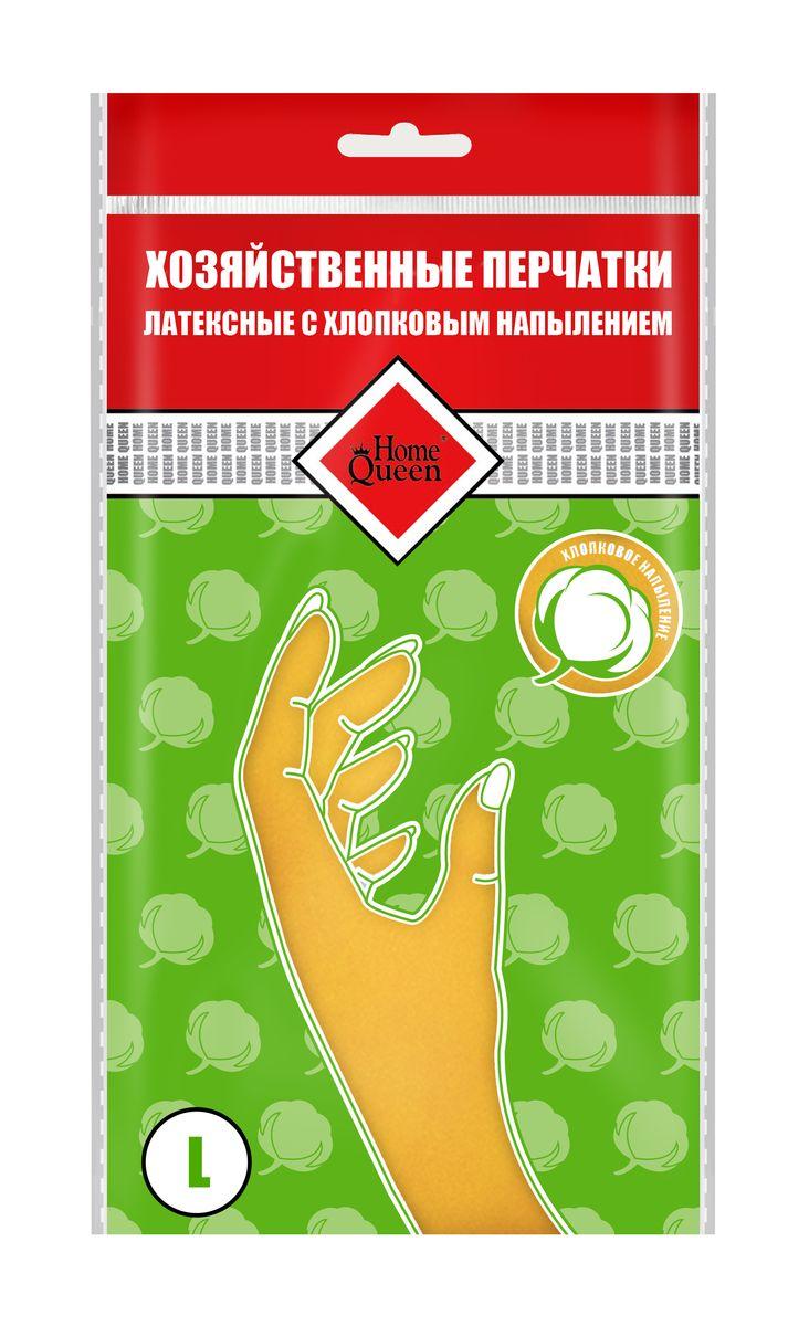 Перчатки латексные Home Queen, с хлопковым напылением. Размер L. 53735CLP446Перчатки Home Queen защитят ваши руки от воздействия бытовой химии и грязи. Подойдут для всех видов хозяйственных работ. Выполнены из латекса с хлопковым напылением.