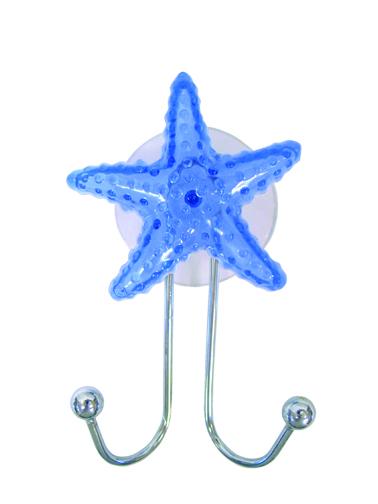Крючок двойной Fresh Code Морская звезда, на присоске, 6,5 см х 10 см х 3 см68/5/1Двойной крючок Fresh Code Морская звезда выполнен из хромированной стали и украшен фигуркой морской звезды из пластика. Крючок крепится к стене при помощи присоски. Такой крючок прекрасно подойдет для ванной комнаты, надежно выдержав все, что вы на него повесите. Размер крючка: 6,5 см х 10 см х 3 см.Диаметр присоски: 6 см.
