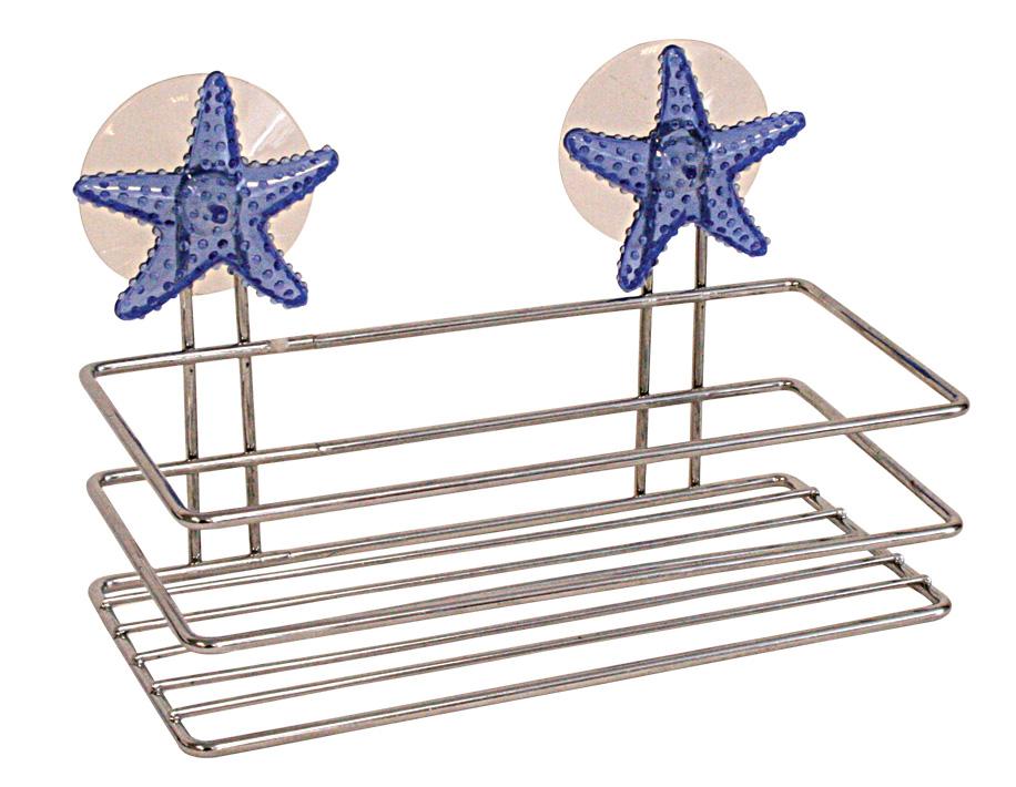 Полка для мочалки Home Queen Морская звезда, 19,5 х 10 х 10 см41619Хромированная полка Home Queen Морская звезда в виде прямоугольной корзинки идеально подойдет для хранения банных принадлежностей. Не требует сложного монтажа, крепится к стене при помощи присосок. Украшена эффектным декором.