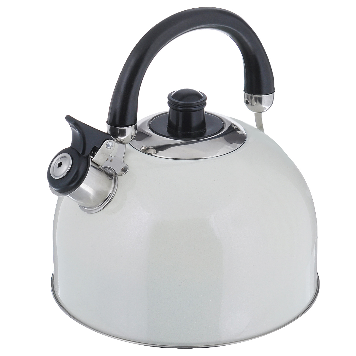 Чайник Mayer & Boch Modern со свистком, цвет: молочный, 2,7 л. 23595-223595-2Чайник Mayer & Boch Modern выполнен из высококачественной нержавеющей стали, что обеспечивает долговечность использования. Внешнее цветное эмалевоепокрытие придает приятный внешний вид. Подвижная ручка из бакелита делает использование чайника очень удобным и безопасным. Чайник снабжен свистком и устройством для открывания носика.Можно мыть в посудомоечной машине. Пригоден для всех видов плит, включая индукционные.Высота чайника (без учета крышки и ручки): 11,5 см.Диаметр основания: 20 см.