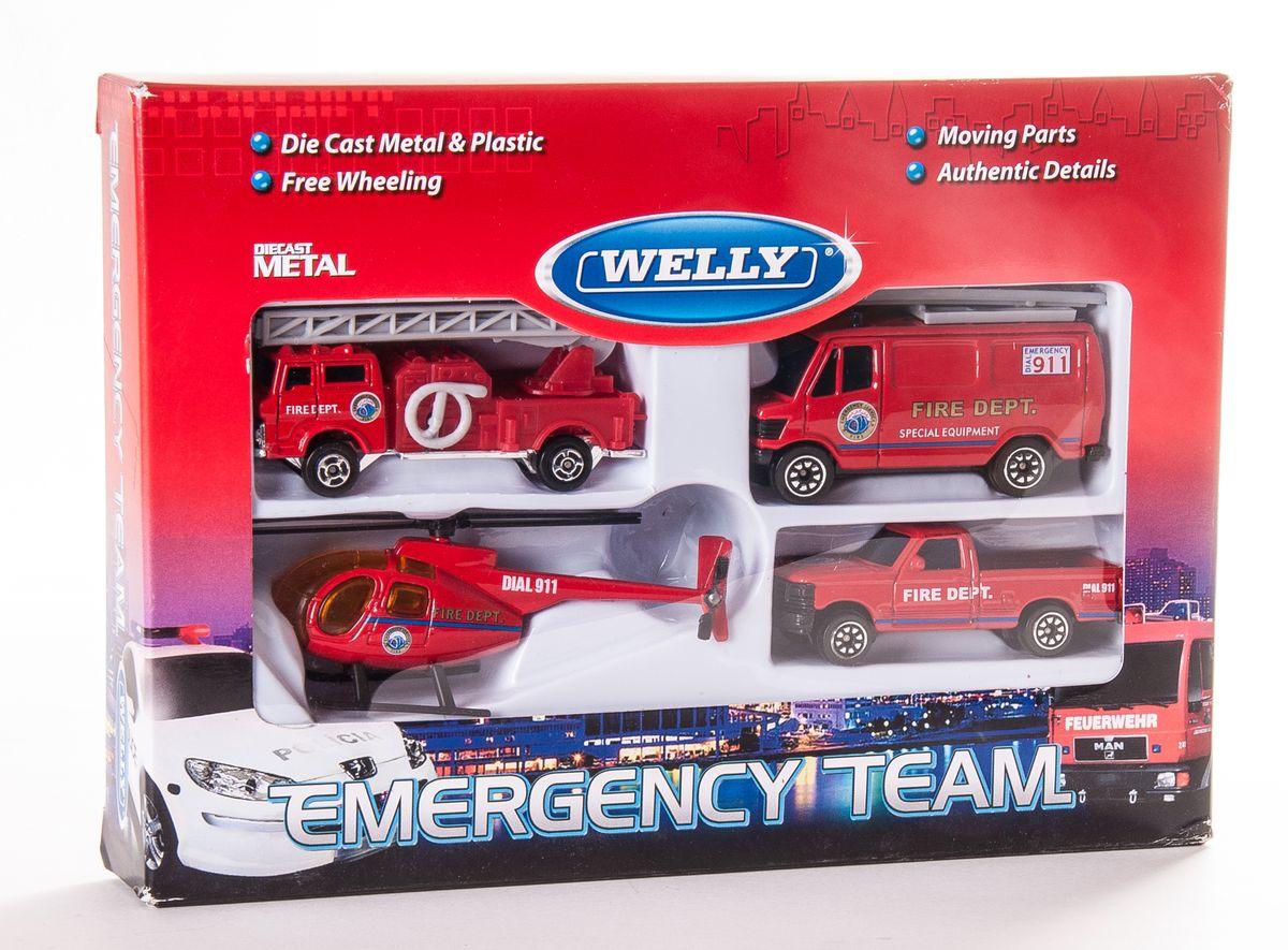 """Игровой набор Welly """"Служба спасения: Пожарная команда"""" представляет собой 4 реалистичные модели, выполненные в виде точных копий пожарной техники. Набор включает в себя вертолет и 3 разные машинки. Модели отличаются высоким качеством исполнения и детализации. Корпус моделей выполнен из металла, стекла изготовлены из прочного прозрачного пластика. Колесики машинок и лопасти вертолета вращаются. Ваш ребенок часами будет играть с набором, придумывая различные истории. Порадуйте его таким замечательным подарком!"""
