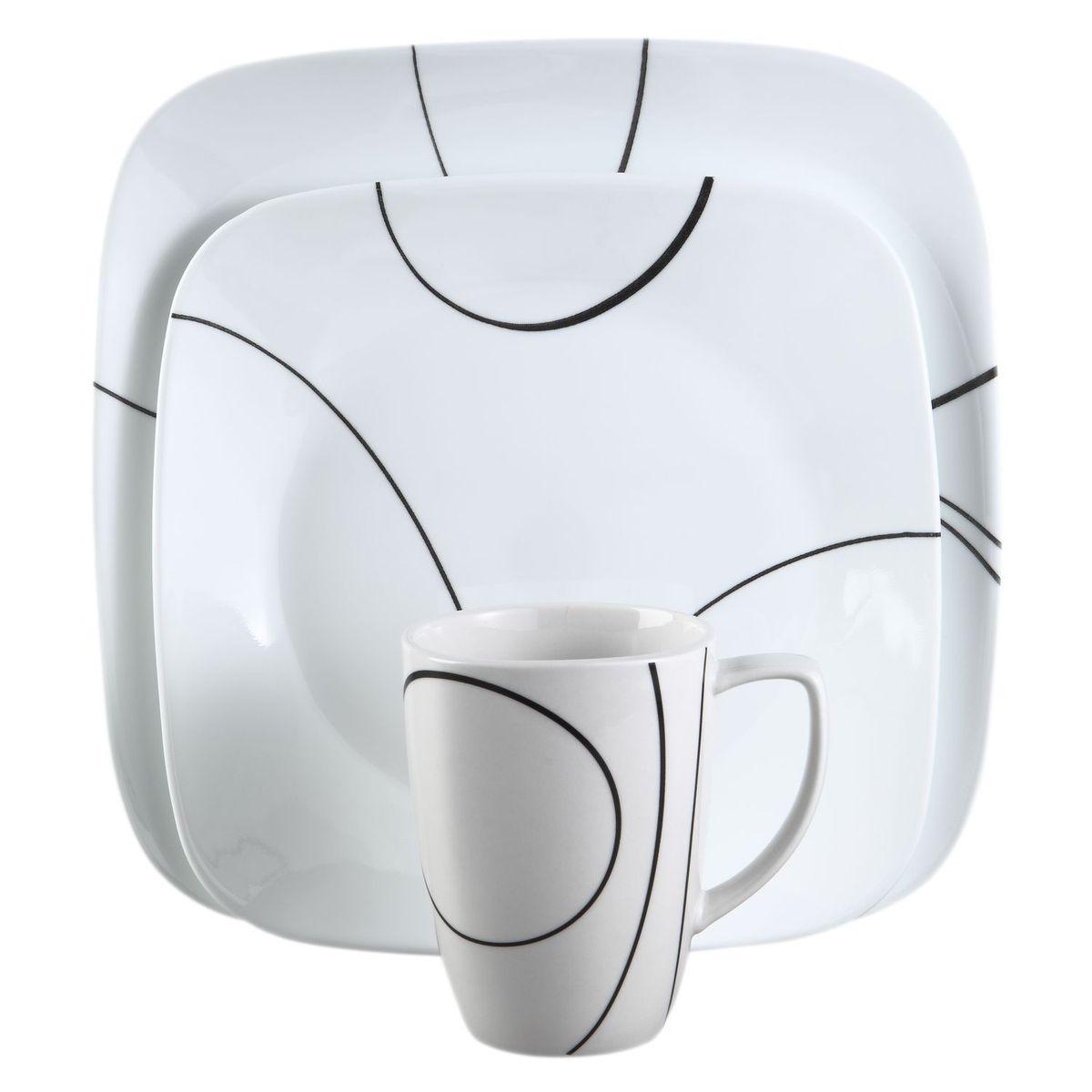 Набор посуды Simple Lines 16пр, цвет: белый с узоромBK-202Преимуществами посуды Corelle являются долговечность, красота и безопасность в использовании. Вся посуда Corelle изготавливается из высококачественного ударопрочного трехслойного стекла Vitrelle и украшена деколями американских и европейских дизайнеров. Рисунки не стираются и не царапаются, не теряют свою яркость на протяжении многих лет. Посуда Corelle не впитывает запахов и очень долгое время выглядит как новая. Уникальная эмаль, используемая во время декорирования, фактически становится единым целым с поверхностью стекла, что гарантирует долгое сохранение нанесенного рисунка. Еще одним из главных преимуществ посуды Corelle является ее безопасность. В производстве используются только безопасные для пищи пигменты эмали, при производстве посуды не применяется вредный для здоровья человека меламин. Изделия из материала Vitrelle: Прочные и легкие; Выдерживают температуру до 180С; Могут использоваться в посудомоечной машине и микроволновой печи; Штабелируемые; Устойчивы к царапинам; Ударопрочные; Не содержит меламин.4 обеденные тарелки 26 см; 4 закусочные тарелки 22 см; 4 суповые тарелки 650 мл; 4 фарфоровые кружки 350 мл