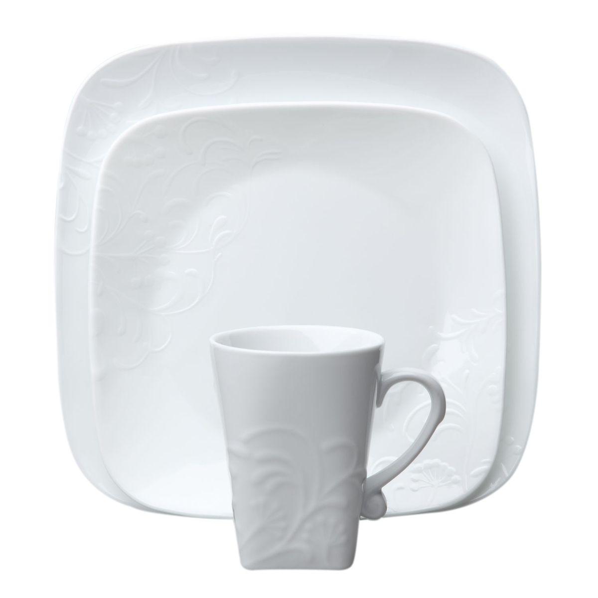 Набор посуды Cherish 16пр, цвет: белый540133Преимуществами посуды Corelle являются долговечность, красота и безопасность в использовании. Вся посуда Corelle изготавливается из высококачественного ударопрочного трехслойного стекла Vitrelle и украшена деколями американских и европейских дизайнеров. Рисунки не стираются и не царапаются, не теряют свою яркость на протяжении многих лет. Посуда Corelle не впитывает запахов и очень долгое время выглядит как новая. Уникальная эмаль, используемая во время декорирования, фактически становится единым целым с поверхностью стекла, что гарантирует долгое сохранение нанесенного рисунка. Еще одним из главных преимуществ посуды Corelle является ее безопасность. В производстве используются только безопасные для пищи пигменты эмали, при производстве посуды не применяется вредный для здоровья человека меламин. Изделия из материала Vitrelle: Прочные и легкие; Выдерживают температуру до 180С; Могут использоваться в посудомоечной машине и микроволновой печи; Штабелируемые; Устойчивы к царапинам; Ударопрочные; Не содержит меламин.4 обеденные тарелки 26 см; 4 закусочные тарелки 22 см; 4 суповые торелки 650 мл; 4 фарфоровые кружки 340 мл