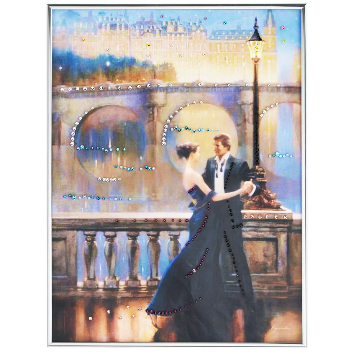 Картина с кристаллами Swarovski Танец любви, 30 см х 40 см8-478Изящная картина в багетной раме, инкрустирована кристаллами Swarovski, которые отличаются четкой и ровной огранкой, ярким блеском и чистотой цвета. Красочное изображение овечки, расположенное под стеклом, прекрасно дополняет блеск кристаллов. С обратной стороны имеется металлическая петелька для размещения картины на стене. Картина с кристаллами Swarovski Танец любви элегантно украсит интерьер дома или офиса, а также станет прекрасным подарком, который обязательно понравится получателю. Блеск кристаллов в интерьере, что может быть сказочнее и удивительнее. Картина упакована в подарочную картонную коробку синего цвета и комплектуется сертификатом соответствия Swarovski. Количество кристаллов: 219 шт. Размер картины: 30 см х 40 см.