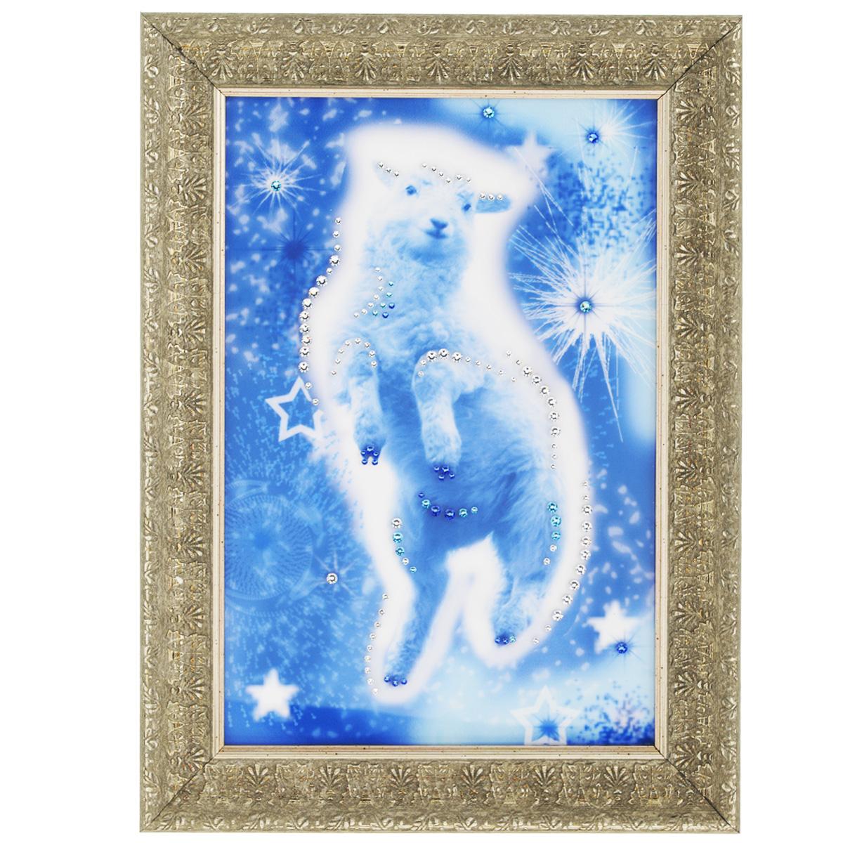 Картина с кристаллами Swarovski Звездная овечка, 29 х 39 см1592Изящная картина в багетной раме, инкрустирована кристаллами Swarovski, которые отличаются четкой и ровной огранкой, ярким блеском и чистотой цвета. Красочное изображение овечки, расположенное под стеклом, прекрасно дополняет блеск кристаллов. С обратной стороны имеется металлическая петелька для размещения картины на стене. Картина с кристаллами Swarovski Звездная овечка элегантно украсит интерьер дома или офиса, а также станет прекрасным подарком, который обязательно понравится получателю. Блеск кристаллов в интерьере, что может быть сказочнее и удивительнее. Картина упакована в подарочную картонную коробку синего цвета и комплектуется сертификатом соответствия Swarovski. Количество кристаллов: 116 шт. Размер картины: 29 см х 39 см.