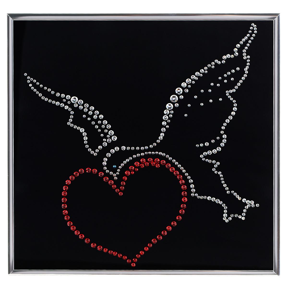 Картина с кристаллами Swarovski Птица счастья, 25 см х 25 см12723Изящная картина в металлической раме, инкрустирована кристаллами Swarovski, которые отличаются четкой и ровной огранкой, ярким блеском и чистотой цвета. Красочное изображение сердца с птицей, расположенное под стеклом, прекрасно дополняет блеск кристаллов. С обратной стороны имеется металлическая петелька для размещения картины на стене. Картина с кристаллами Swarovski Птица счастья элегантно украсит интерьер дома или офиса, а также станет прекрасным подарком, который обязательно понравится получателю. Блеск кристаллов в интерьере, что может быть сказочнее и удивительнее. Картина упакована в подарочную картонную коробку синего цвета и комплектуется сертификатом соответствия Swarovski. Количество кристаллов: 352 шт. Размер картины: 25 см х 25 см.