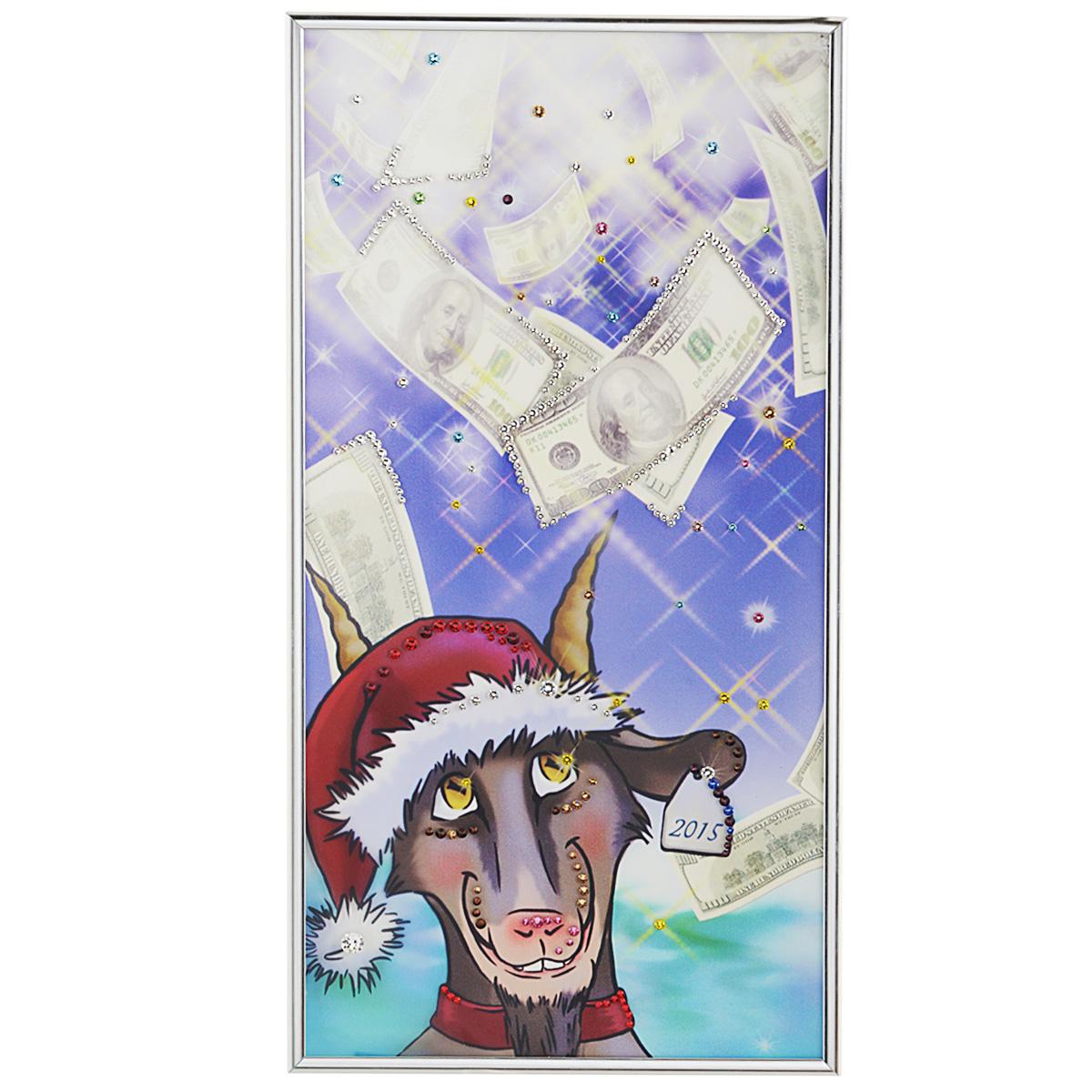Картина с кристаллами Swarovski Про100козел, 20 см х 40 см1398Изящная картина в металлической раме, инкрустирована кристаллами Swarovski, которые отличаются четкой и ровной огранкой, ярким блеском и чистотой цвета. Красочное изображение козла, в новогодней шапке, расположенное под стеклом, прекрасно дополняет блеск кристаллов. С обратной стороны имеется металлическая петелька для размещения картины на стене. Картина с кристаллами Swarovski Про100козел элегантно украсит интерьер дома или офиса, а также станет прекрасным подарком, который обязательно понравится получателю. Блеск кристаллов в интерьере, что может быть сказочнее и удивительнее. Картина упакована в подарочную картонную коробку синего цвета и комплектуется сертификатом соответствия Swarovski. Количество кристаллов: 240 шт. Размер картины: 20 см х 40 см.