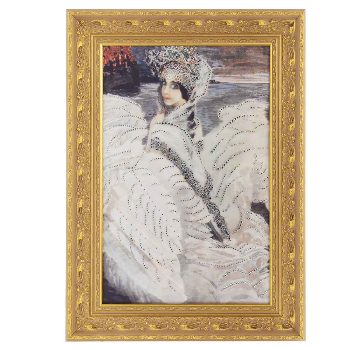 Картина с кристаллами Swarovski Царевна-Лебедь, 59,5 х 81 см1200Изящная картина в багетной раме, инкрустирована кристаллами Swarovski, которые отличаются четкой и ровной огранкой, ярким блеском и чистотой цвета. Красочное изображение прекрасной Царевны-Лебедь, расположенное под стеклом, прекрасно дополняет блеск кристаллов. С обратной стороны имеется металлическая проволока для размещения картины на стене. Картина с кристаллами Swarovski Царевна-Лебедь элегантно украсит интерьер дома или офиса, а также станет прекрасным подарком, который обязательно понравится получателю. Блеск кристаллов в интерьере, что может быть сказочнее и удивительнее.Картина упакована в подарочную картонную коробку синего цвета и комплектуется сертификатом соответствия Swarovski. Размер картины: 59,5 см х 81 см.Количество кристаллов: 1343 шт.