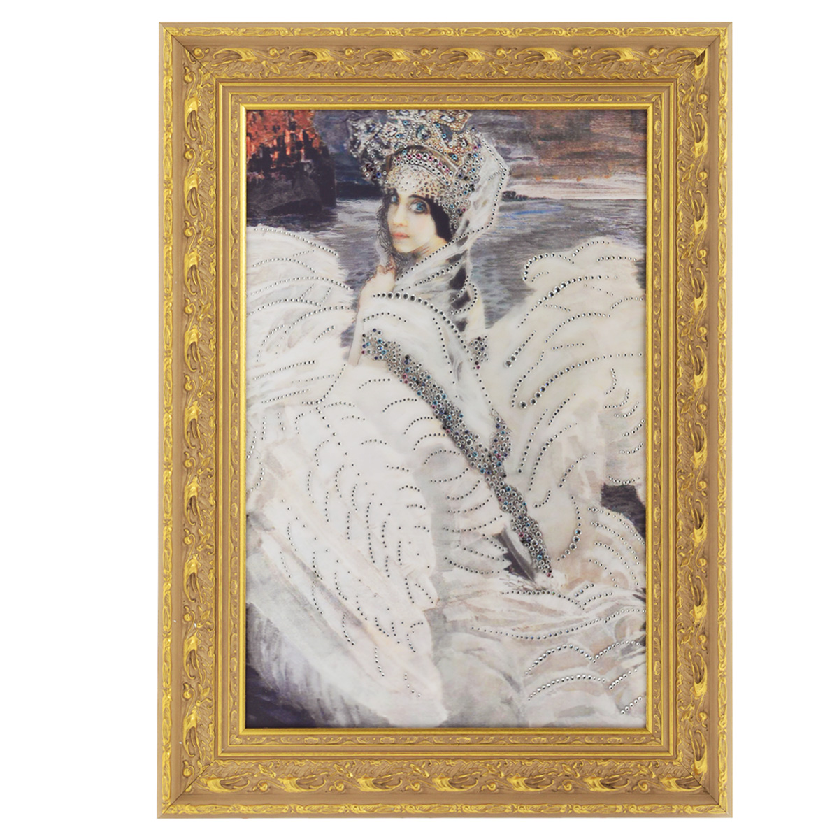 Картина с кристаллами Swarovski Царевна-Лебедь, 59,5 х 81 см