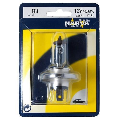 Лампа автомобильная Narva H4 RPB 12V-60/55W (P43t) (1шт) 48677VCA-00Лампа галогенная ближний/дальний 60/55w прозрачное стекло.Штатная температура свечения.Напряжение: 12 вольт