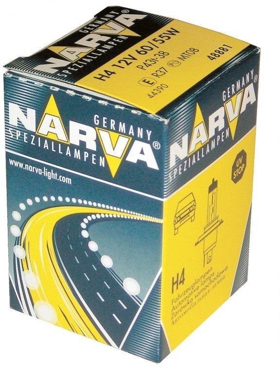 Лампа автомобильная галогенная NARVA, цоколь H4, 12V, 55-60W48881Галогенные лампы NARVA пригодны для всех современных автомобилей, оборудованных фарами головного света, предусматривающими использование галогенных ламп. Эти лампы могут использоваться круглый год в любых погодных условияхУважаемые клиенты!Обращаем ваше внимание на возможные изменения в дизайне упаковки. Качественные характеристики товара остаются неизменными. Поставка осуществляется в зависимости от наличия на складе.